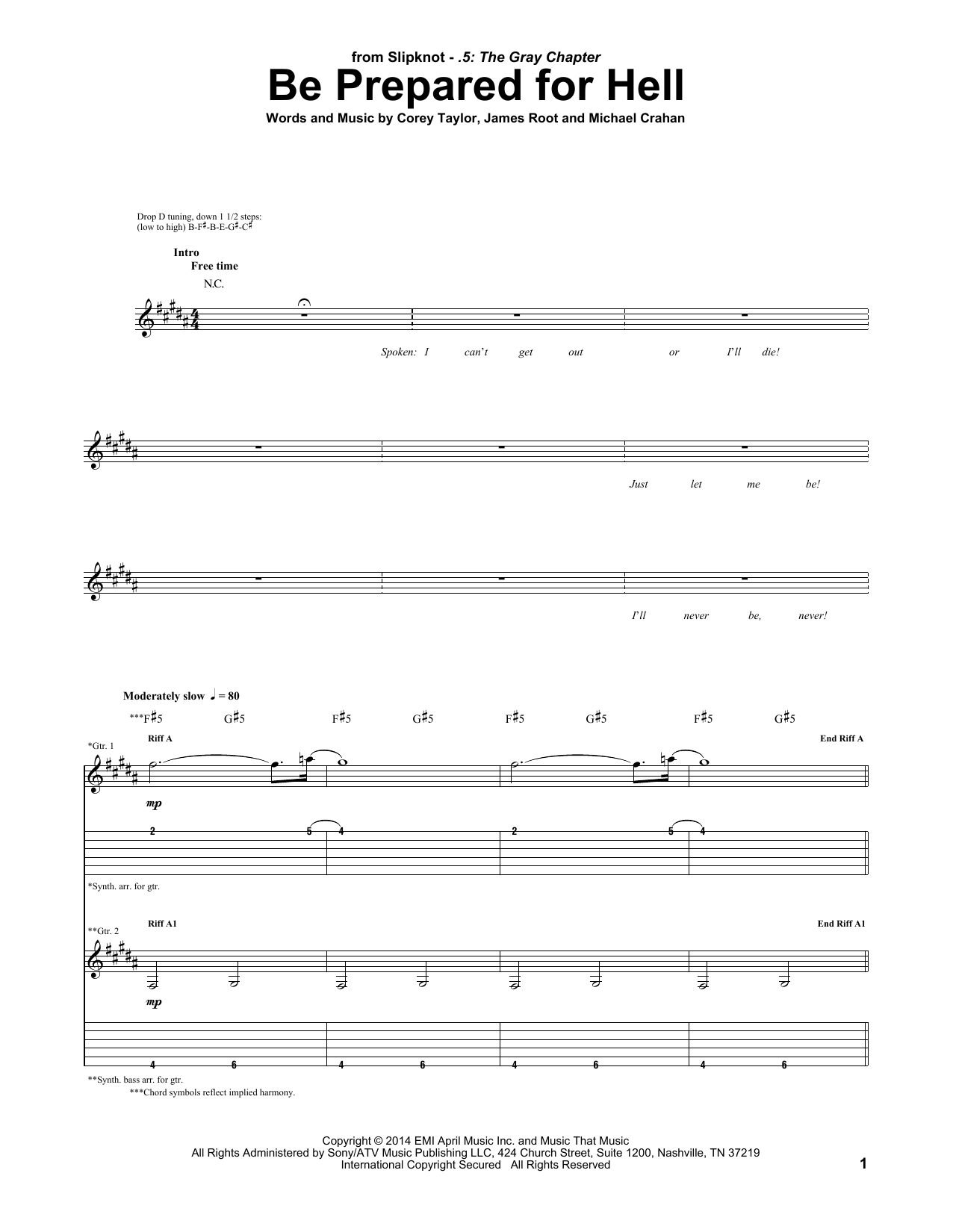 Tablature guitare Be Prepared For Hell de Slipknot - Tablature Guitare