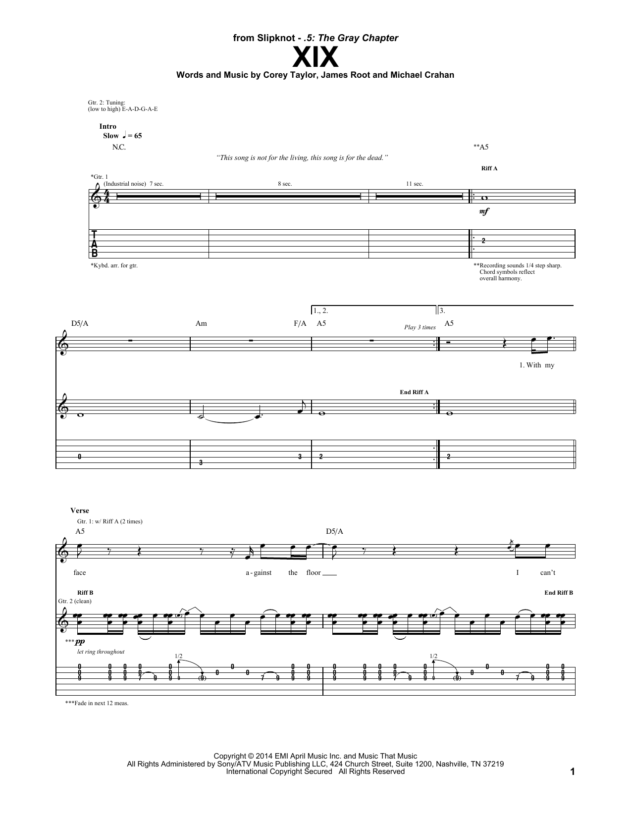 Tablature guitare XIX de Slipknot - Tablature Guitare