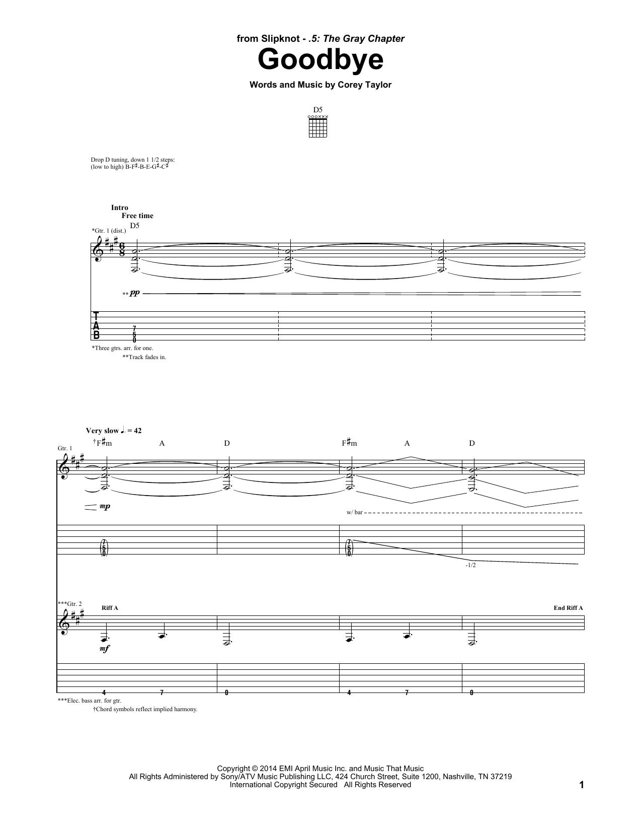 Tablature guitare Goodbye de Slipknot - Tablature Guitare