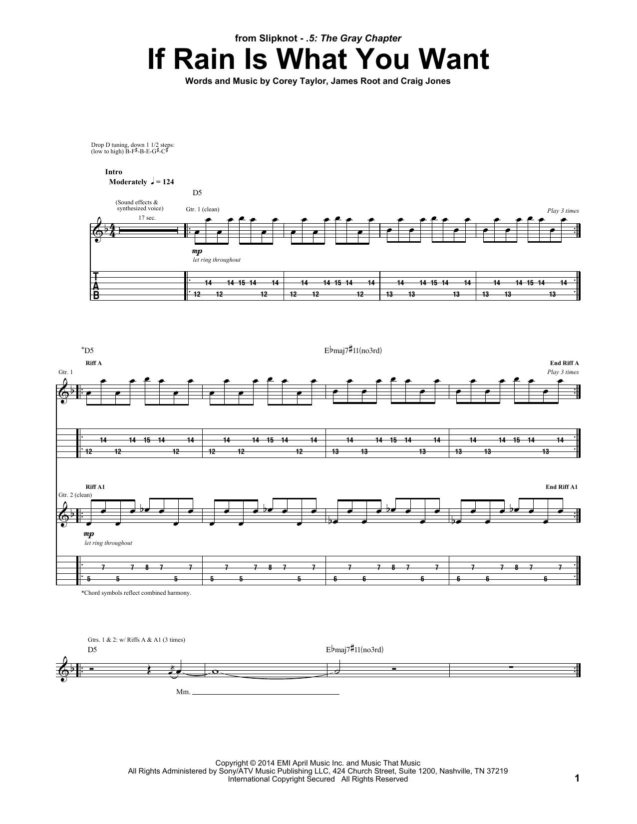 Tablature guitare If Rain Is What You Want de Slipknot - Tablature Guitare