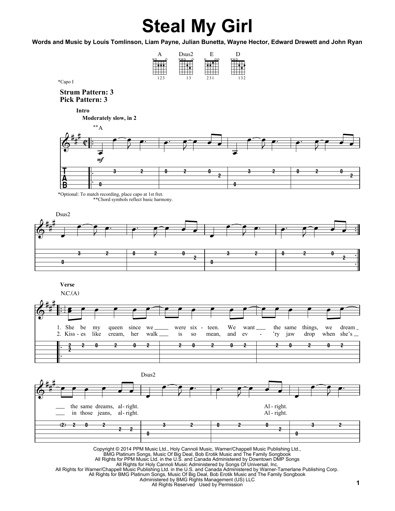 Tablature guitare Steal My Girl de One Direction - Tablature guitare facile