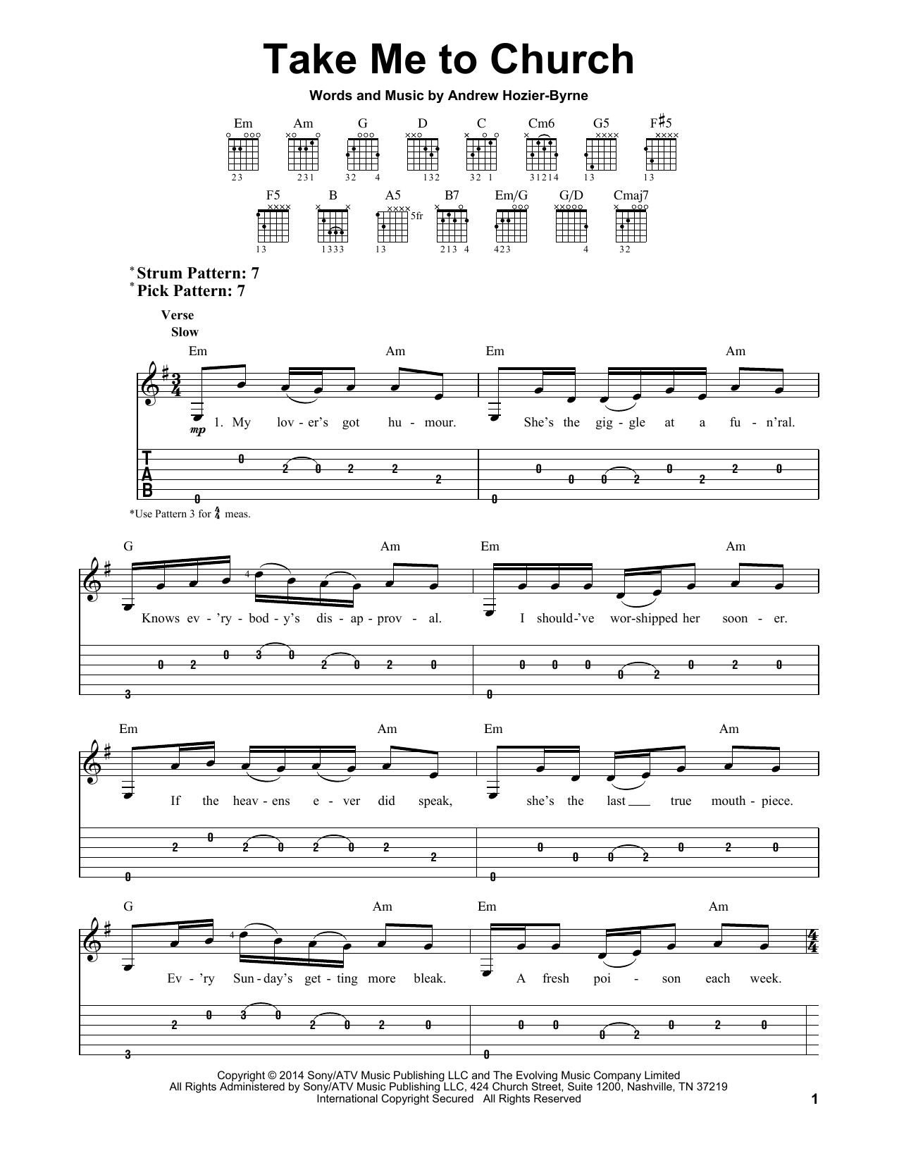 Tablature guitare Take Me To Church de Hozier - Tablature guitare facile