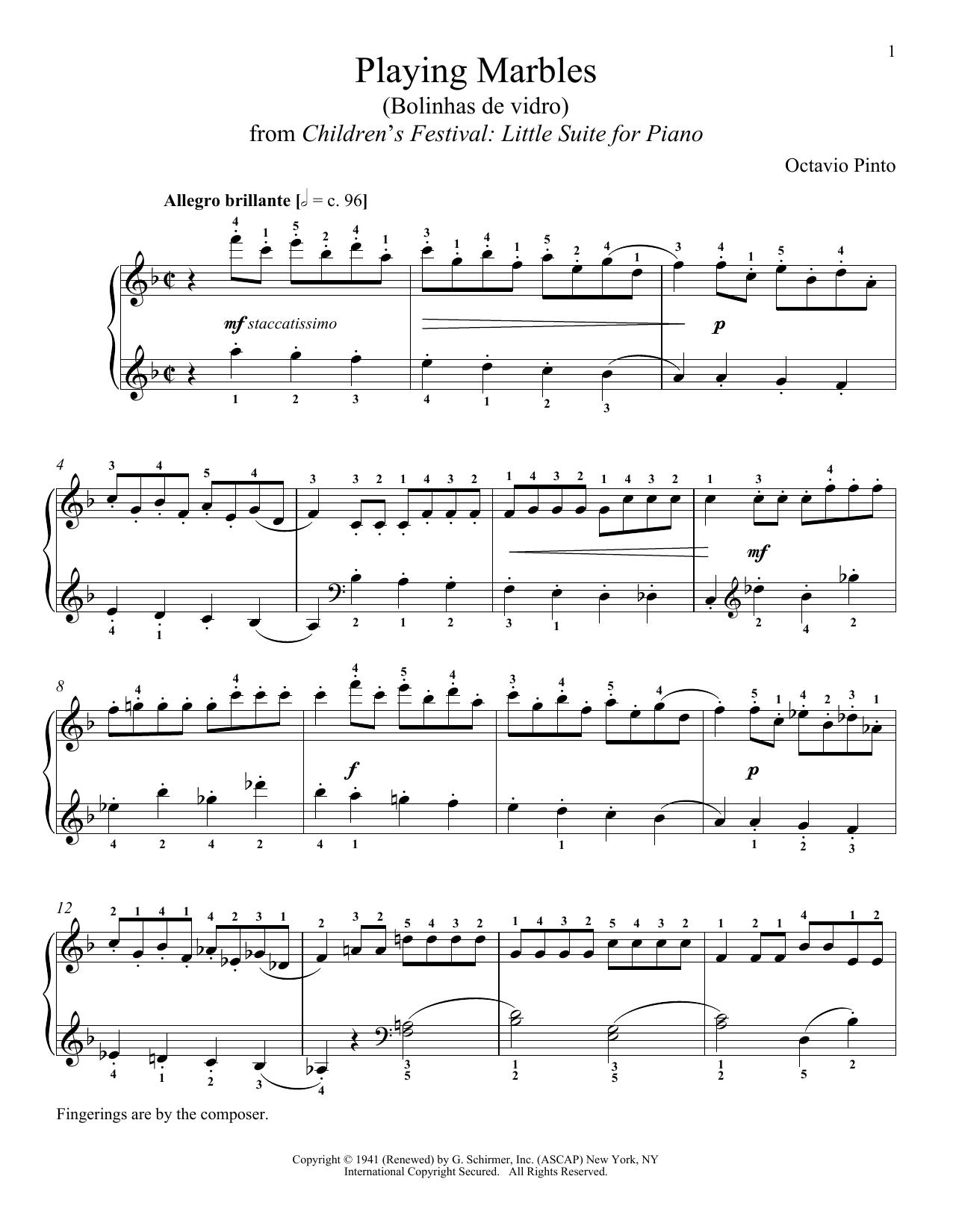 Partition piano Playing Marbles de Octavio Pinto - Piano Solo