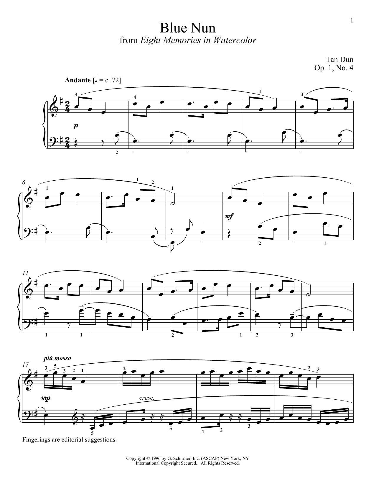 Partition piano Blue Nun de Tan Dun - Piano Solo