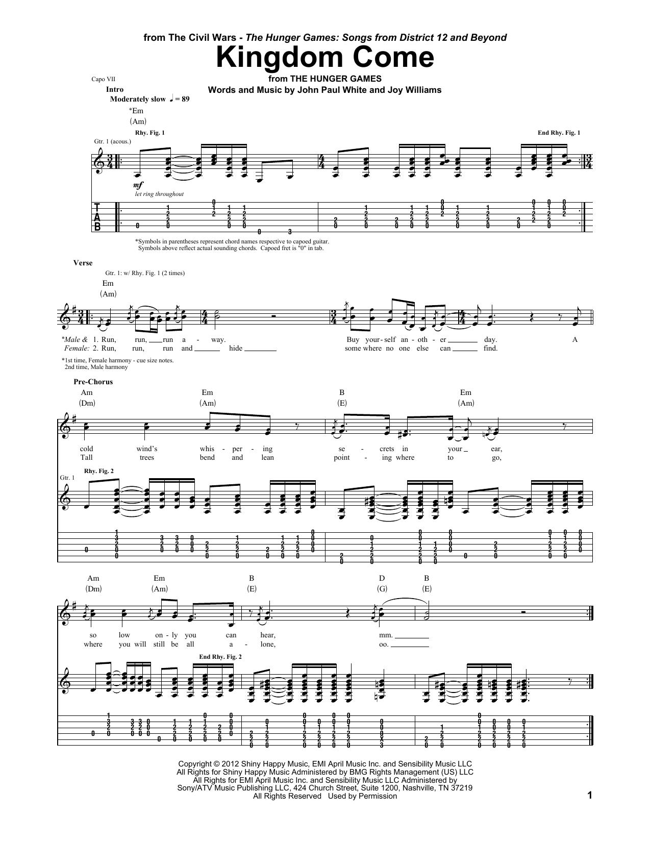 Sheet Music Digital Files To Print Licensed The Civil Wars Digital