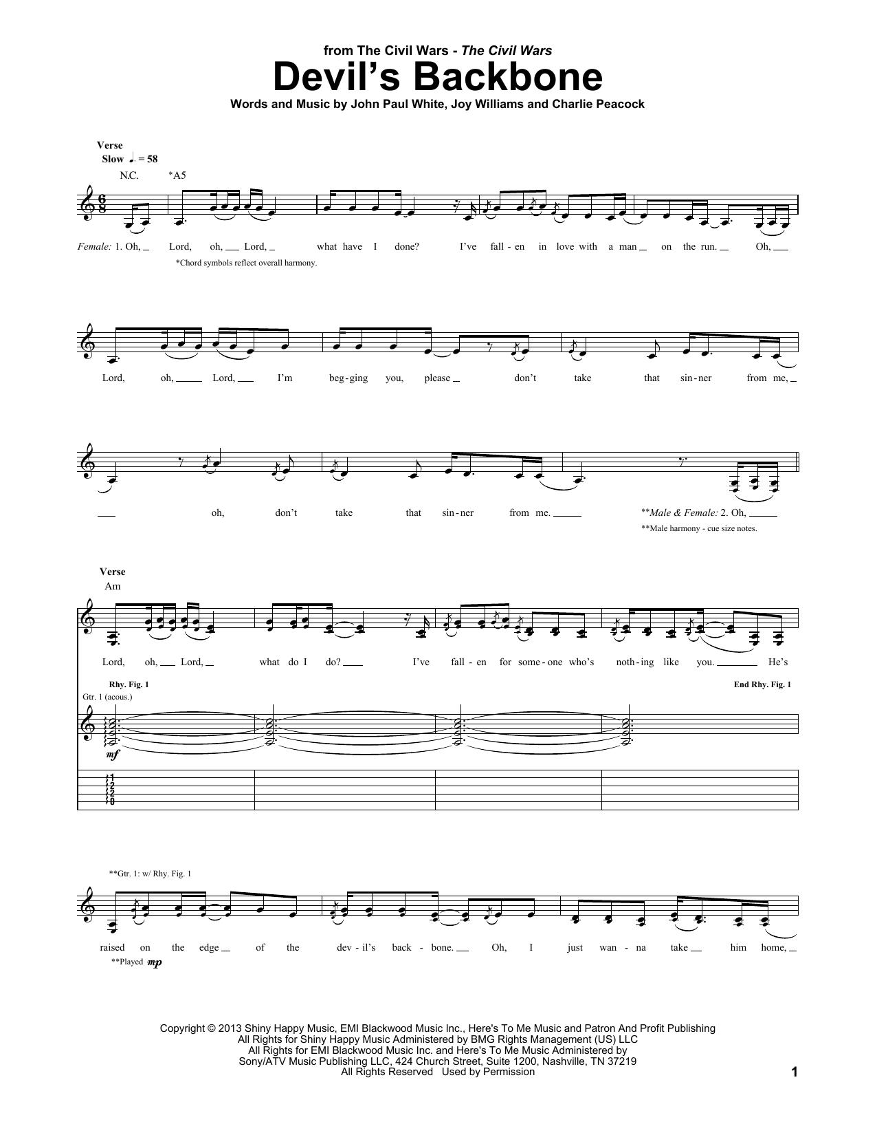 Tablature guitare Devil's Backbone de The Civil Wars - Tablature Guitare