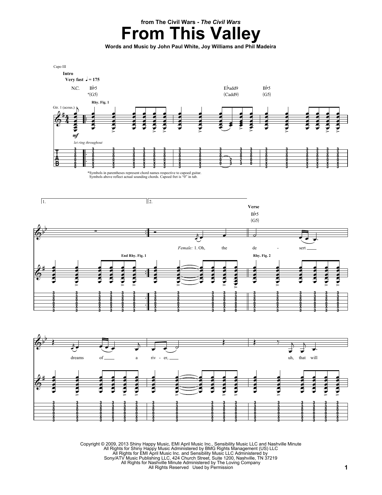 Tablature guitare From This Valley de The Civil Wars - Tablature Guitare