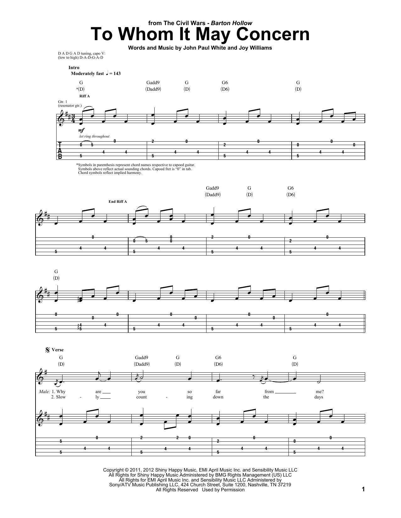 Tablature guitare To Whom It May Concern de The Civil Wars - Tablature Guitare