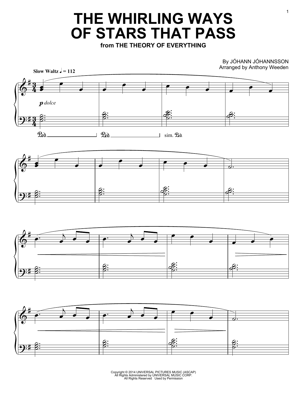 Partition piano The Whirling Ways Of Stars That Pass de Johann Johannsson - Piano Solo
