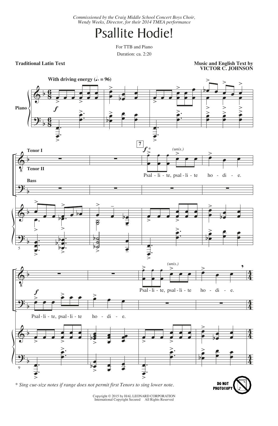 Partition chorale Psallite Hodie! de Victor Johnson - TTBB