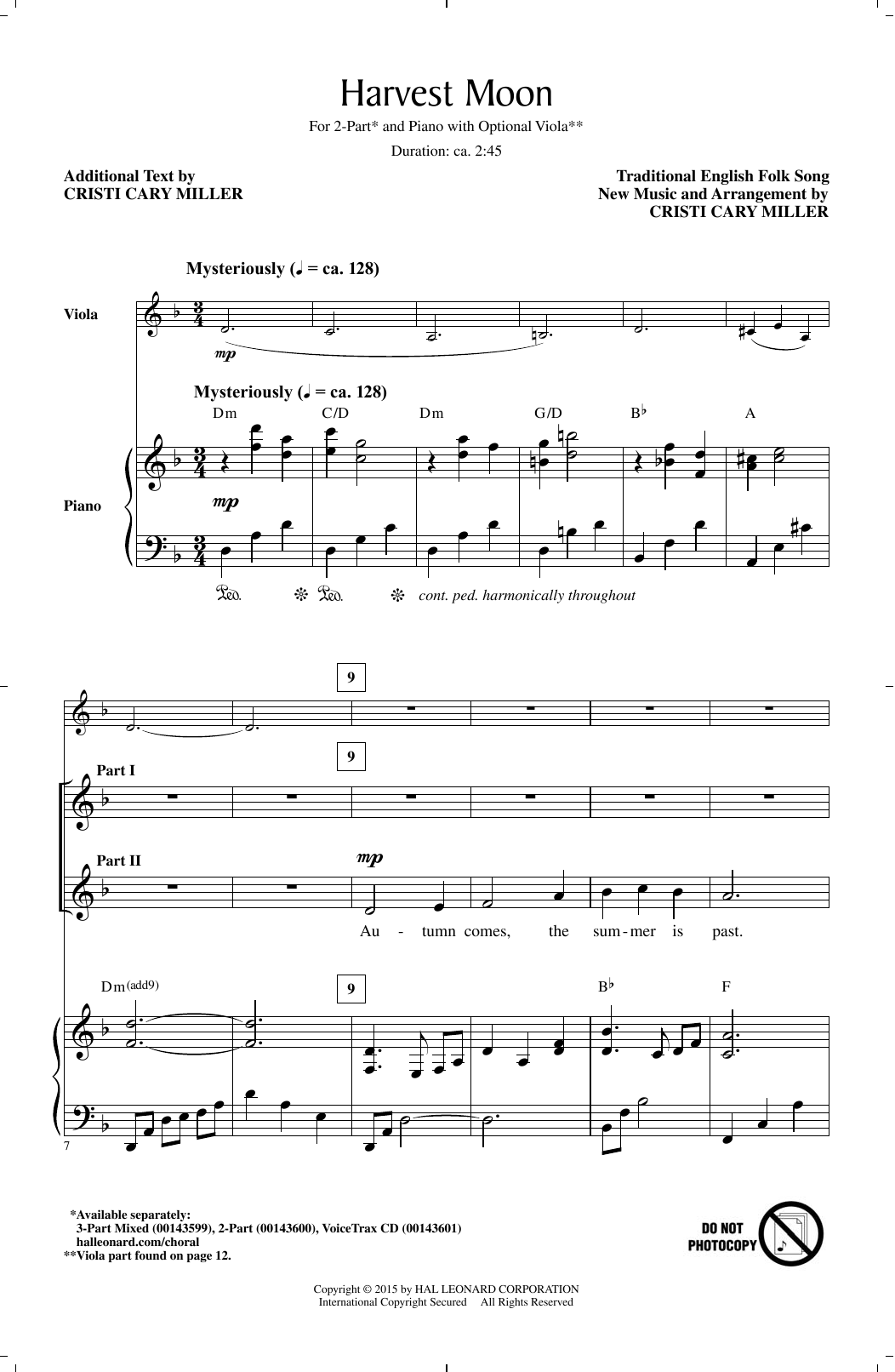 Partition chorale Harvest Moon (arr. Cristi Cary Miller) de Traditional Folksong - 2 voix