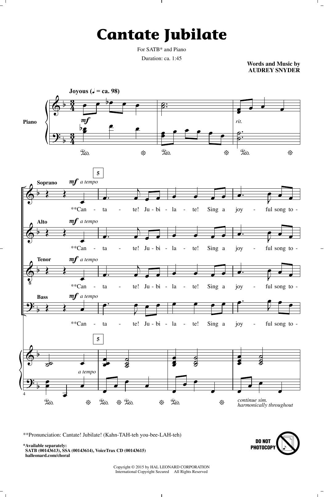 Partition chorale Cantate Jubilate de Audrey Snyder - SATB
