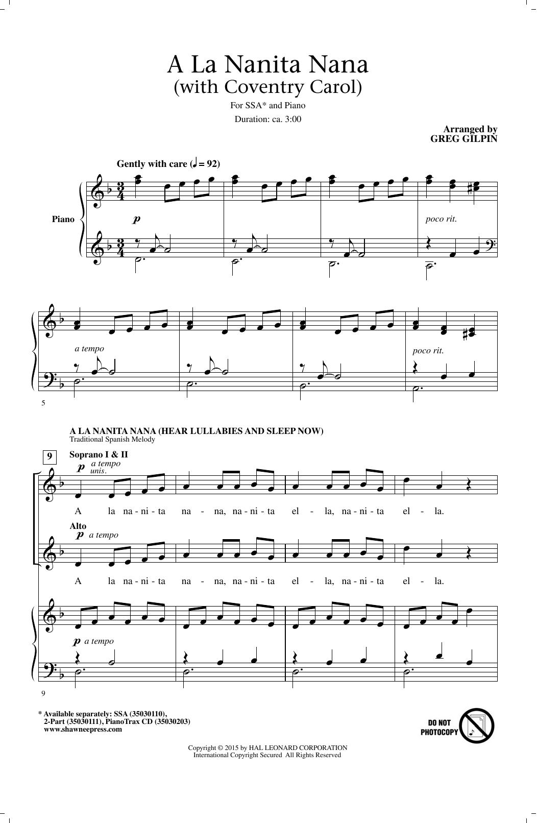 Partition chorale A La Nanita Nana (Hear Lullabies And Sleep Now) de Greg Gilpin - SSA