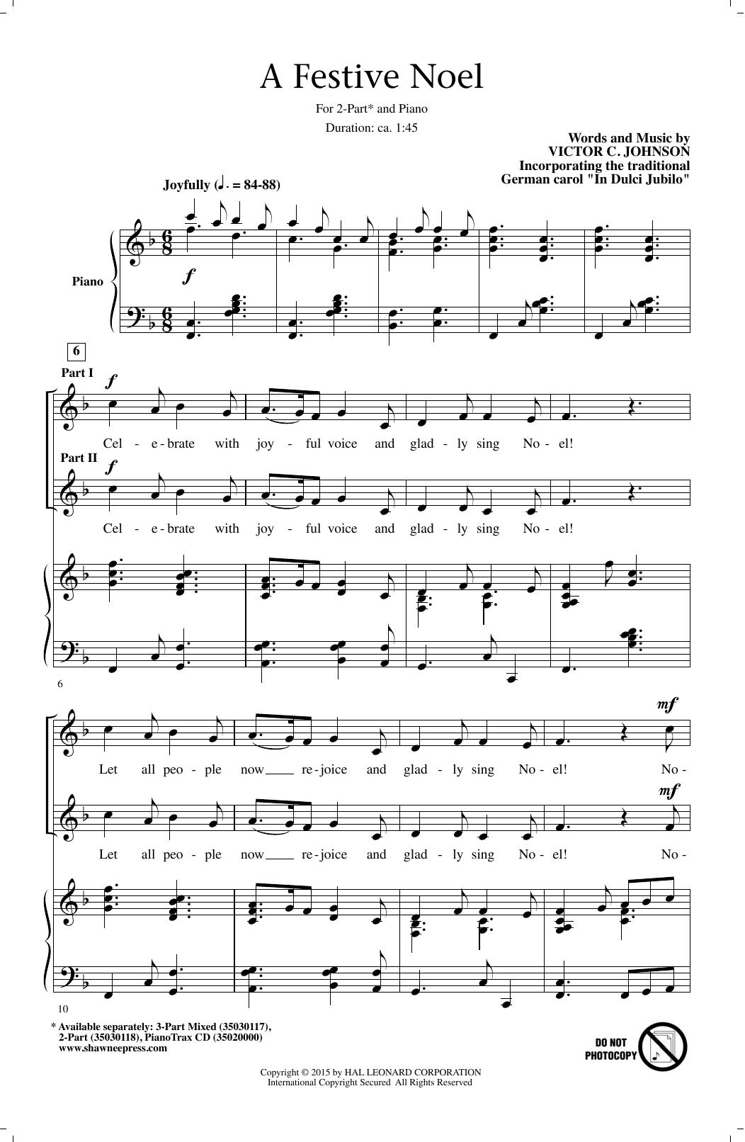 Partition chorale A Festive Noel de Victor Johnson - 2 voix