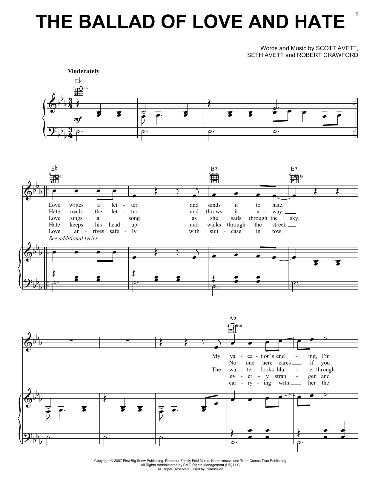 The Ballad Of Love And Hate : Sheet Music Direct