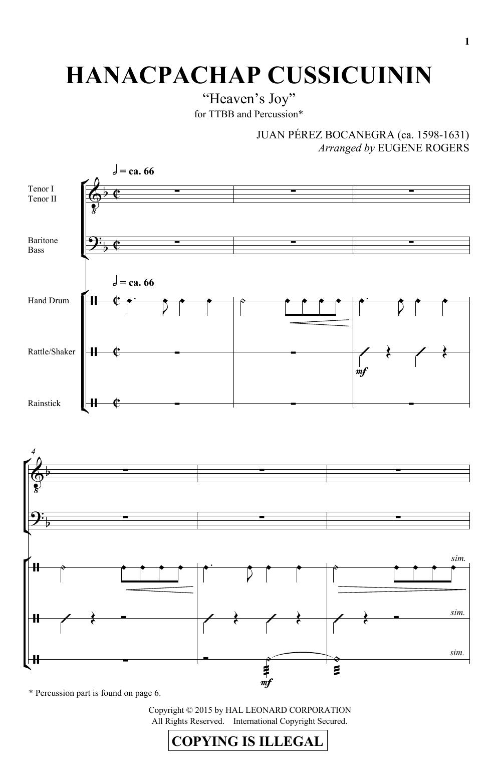 Partition autre Hanacpachap Cussicuinin de E Rogers - Percussions