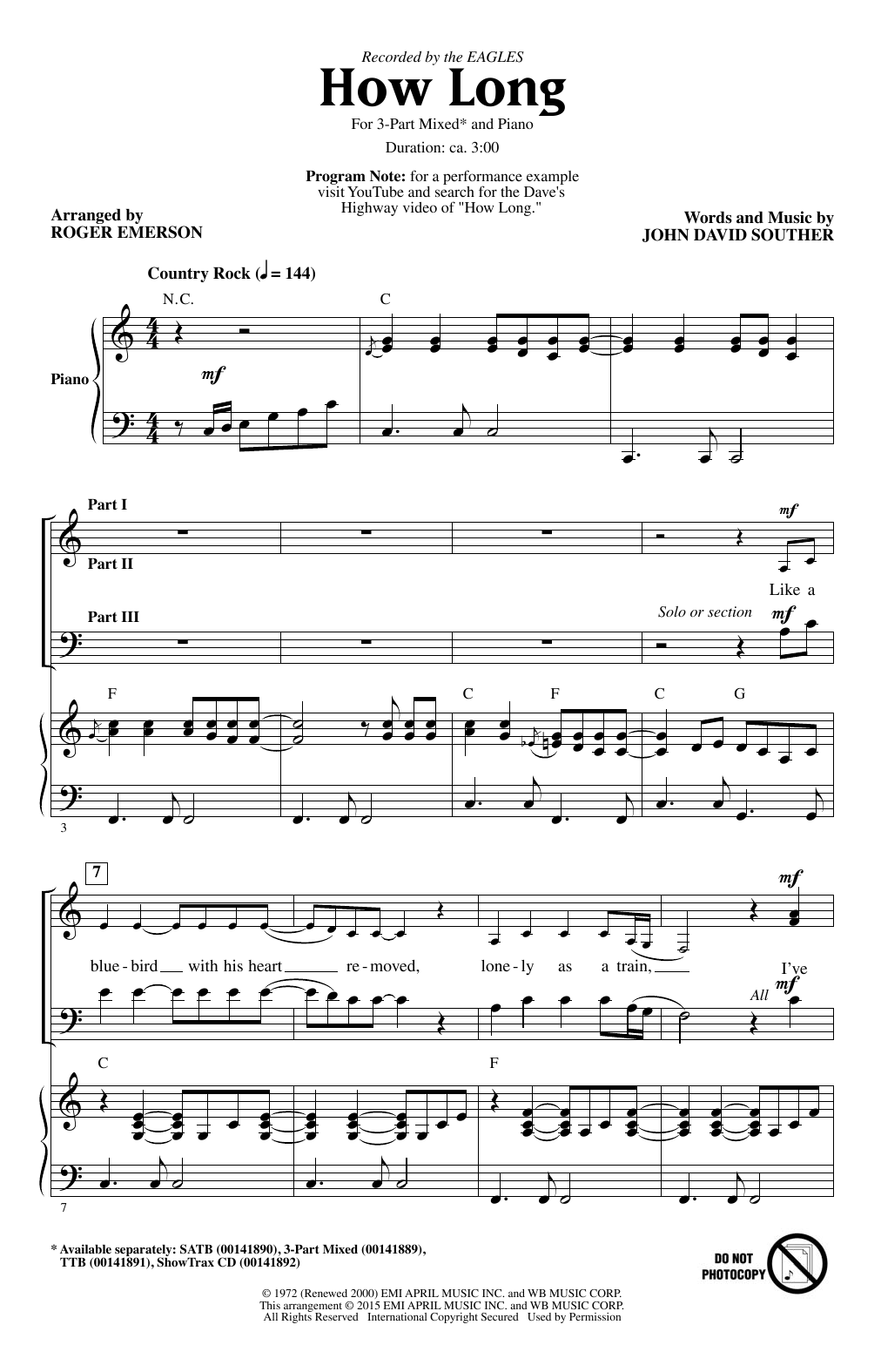 Partition chorale How Long (arr. Roger Emerson) de Eagles - 3 voix mixtes
