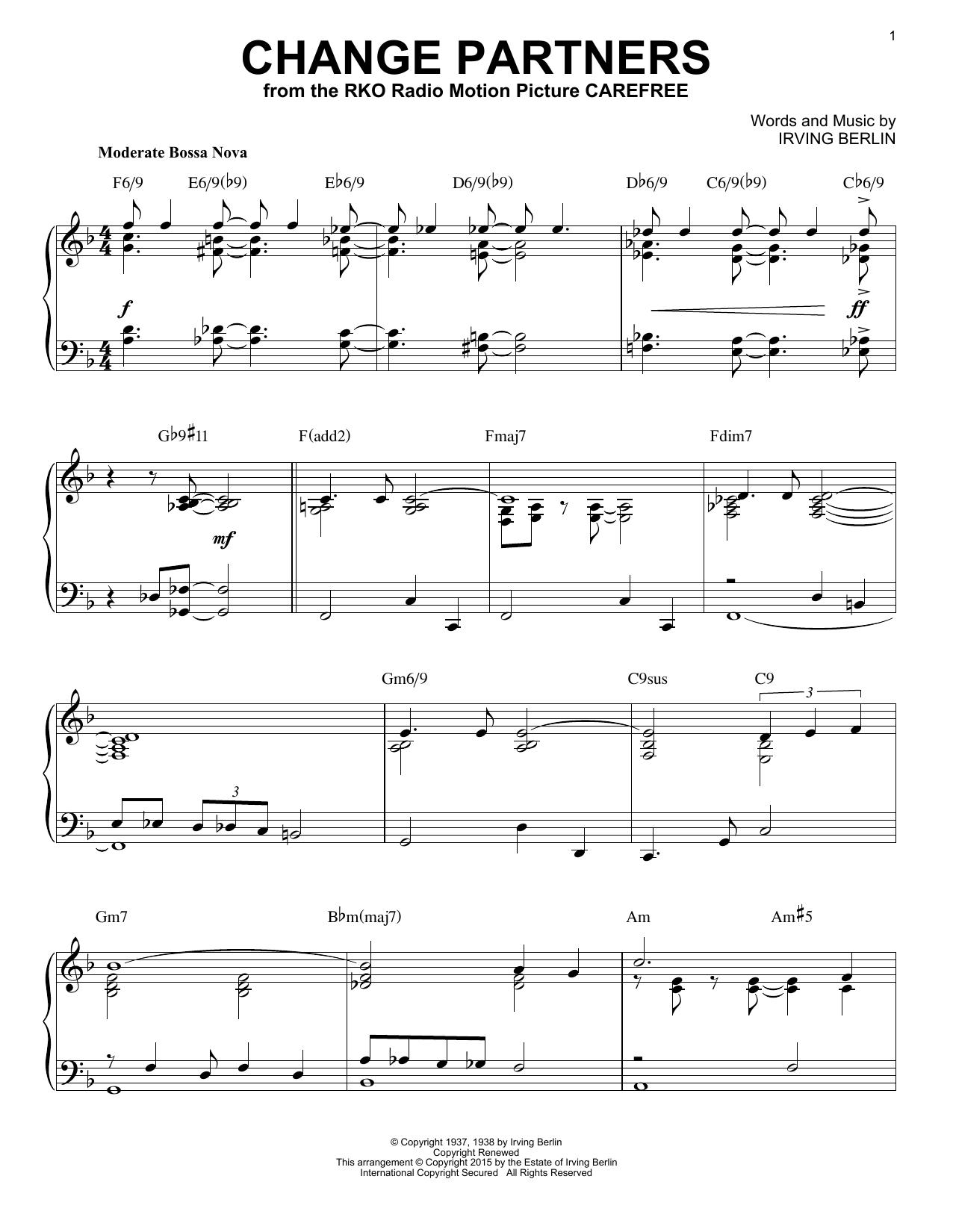 Partition piano Change Partners de Irving Berlin - Piano Solo