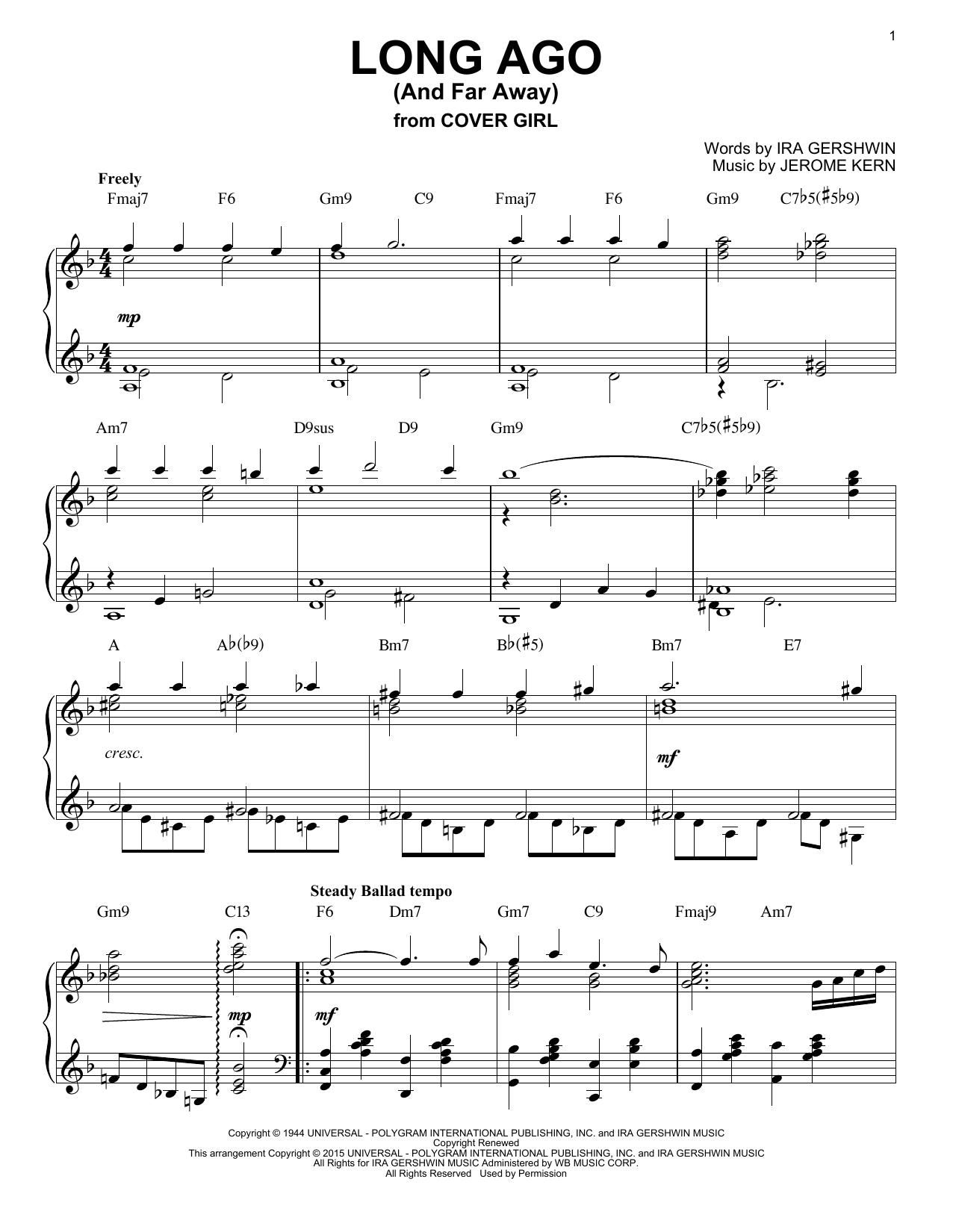 Partition piano Long Ago (And Far Away) de Jerome Kern - Piano Solo