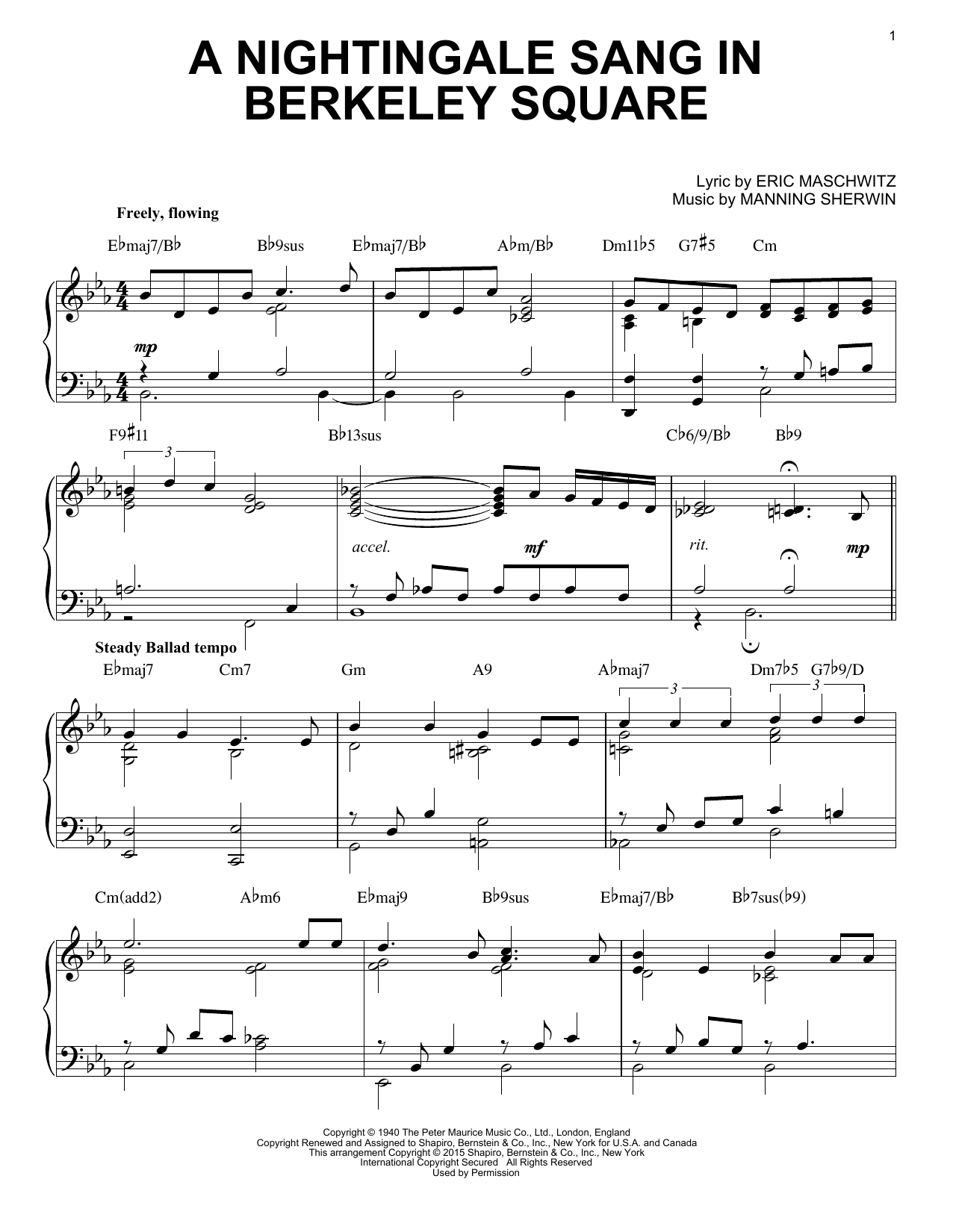 Partition piano A Nightingale Sang In Berkeley Square de The Manhattan Transfer - Piano Solo