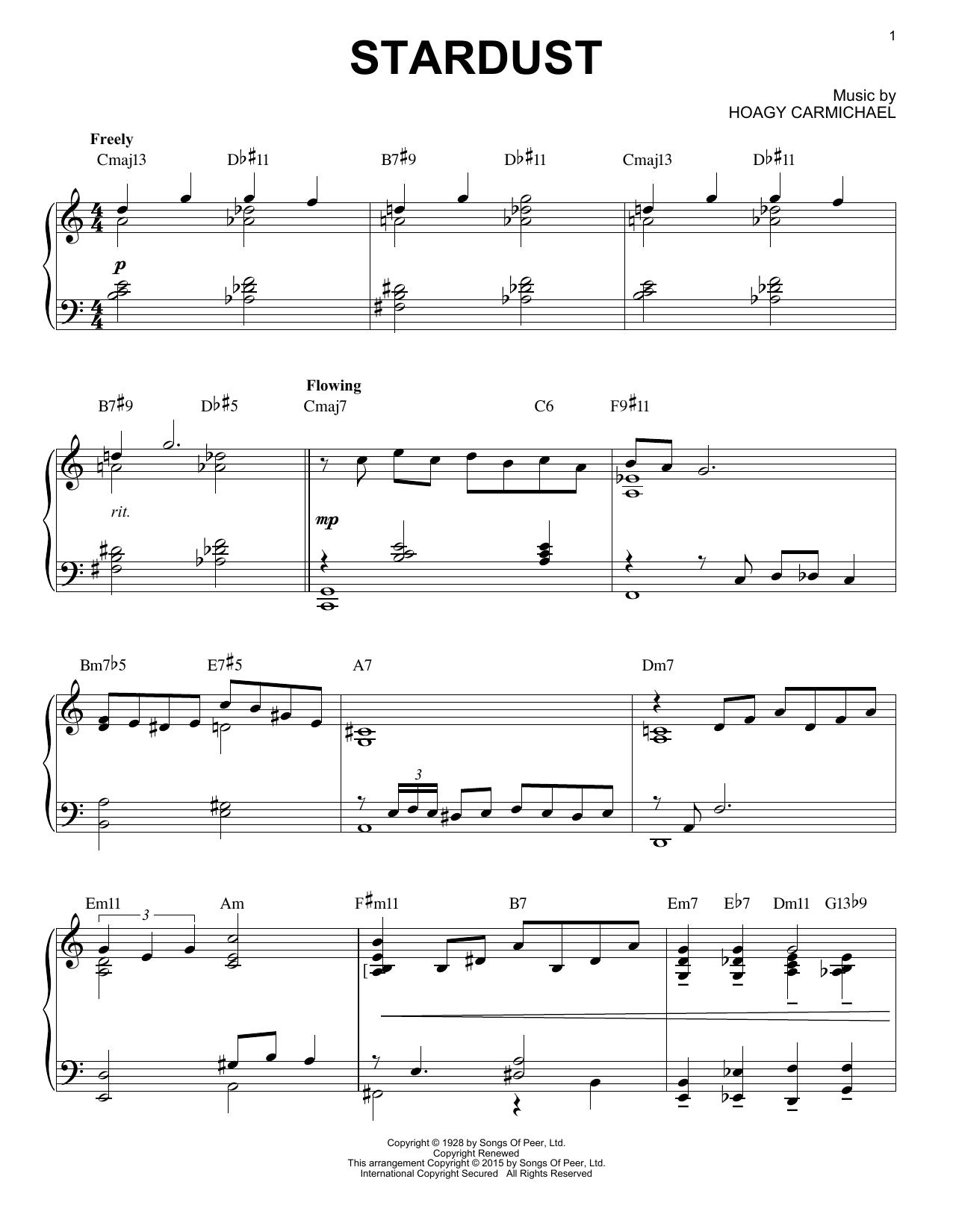 Partition piano Stardust de Artie Shaw - Piano Solo