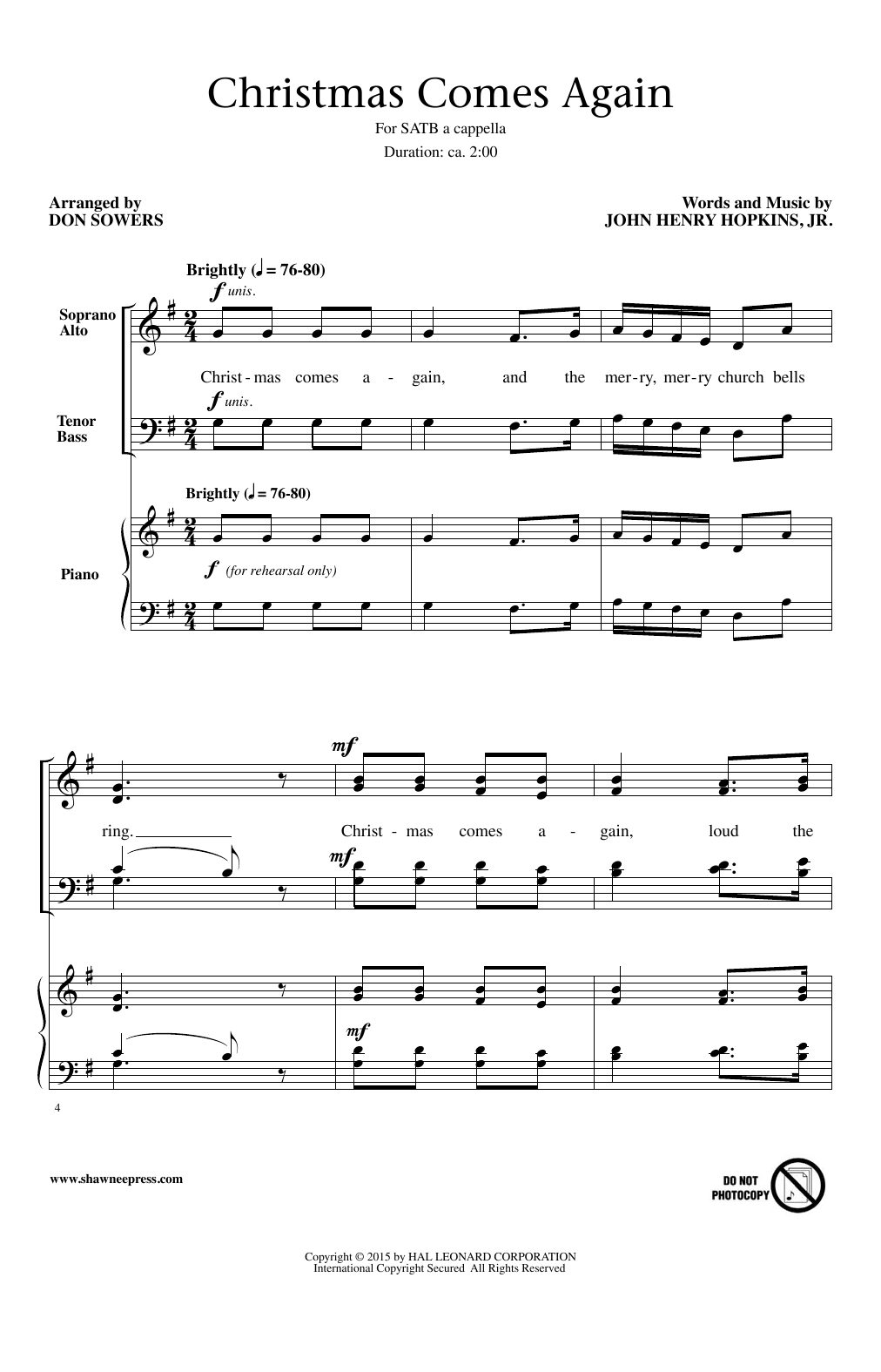 Partition chorale Christmas Comes Again (arr. Don Sowers) de Jr. Hopkins - SATB