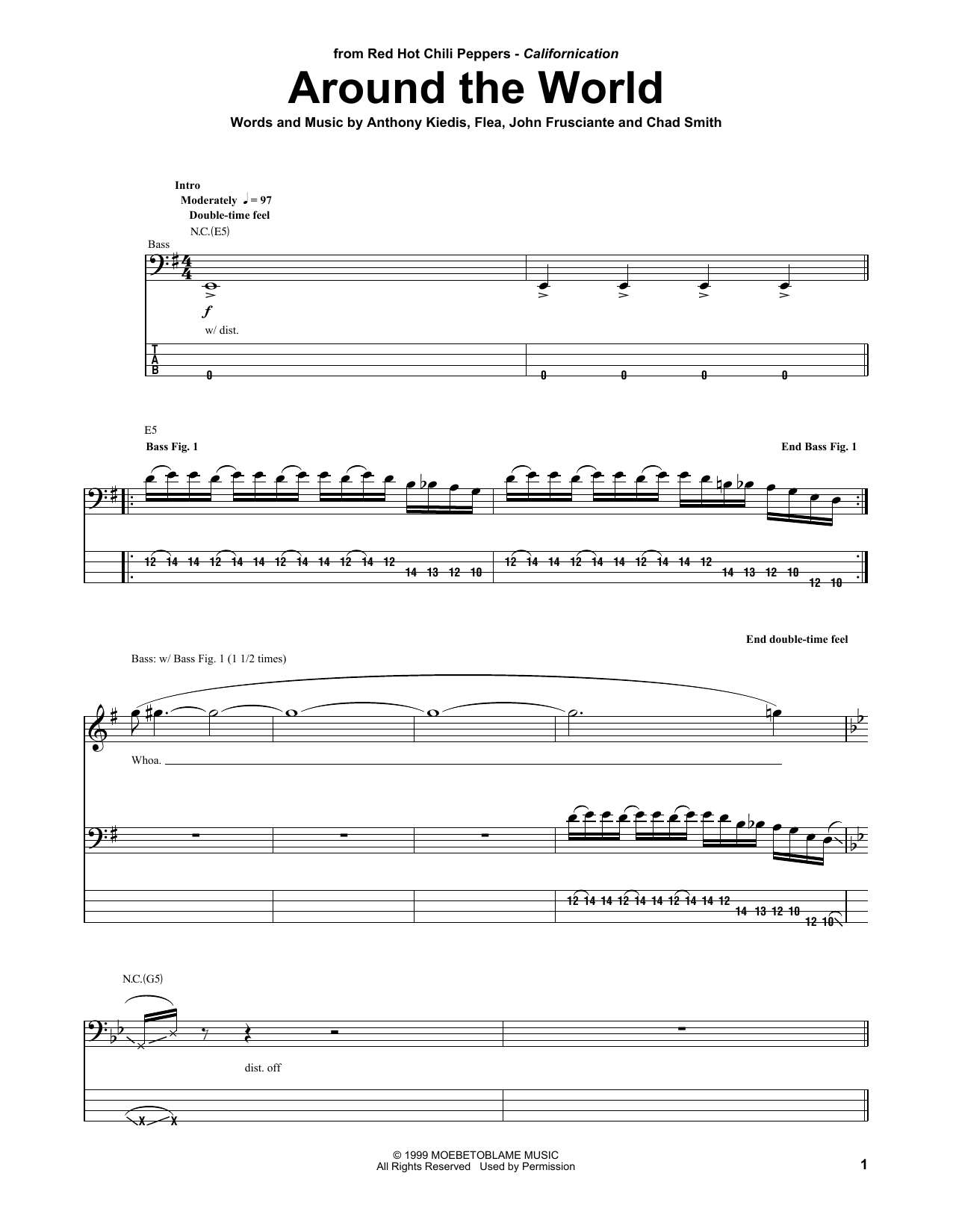 Tablature guitare Around The World de Red Hot Chili Peppers - Tablature Basse