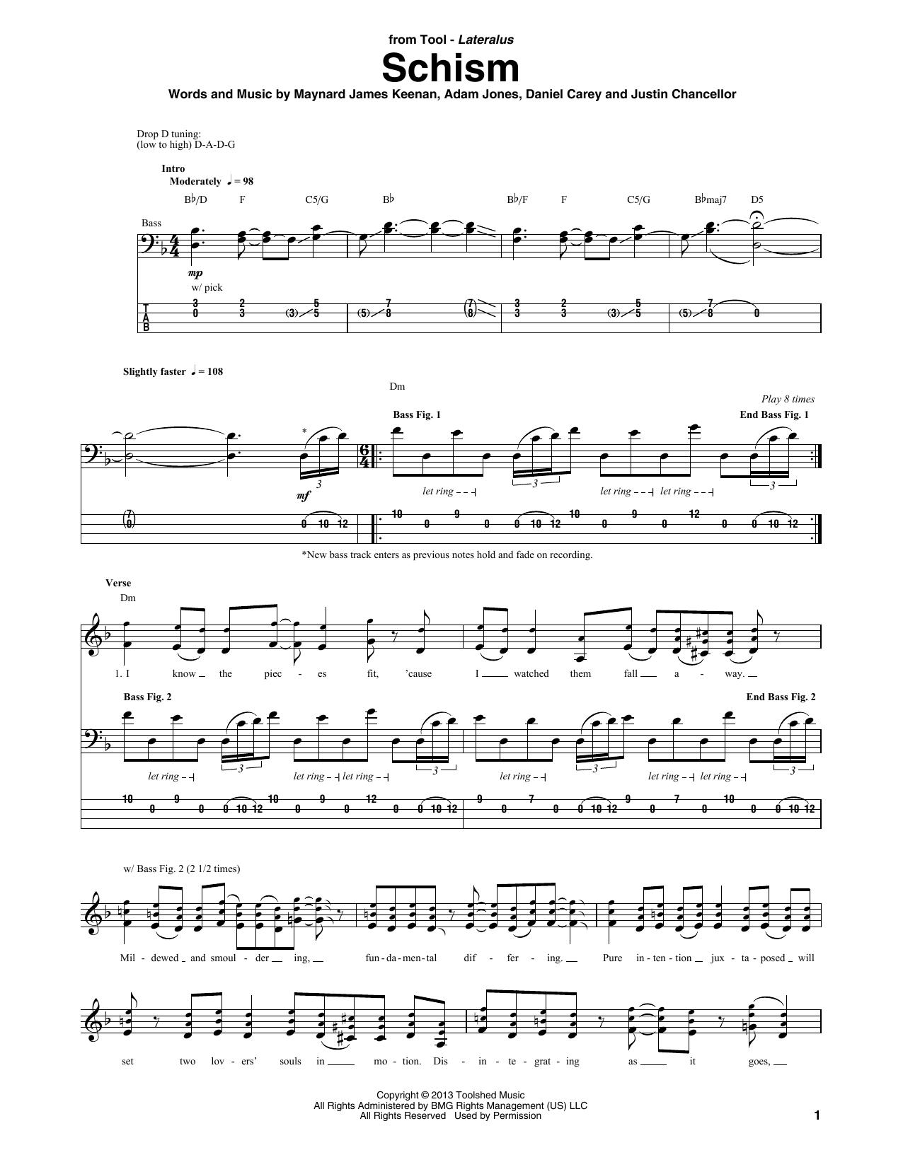 Tablature guitare Schism de Tool - Tablature Basse