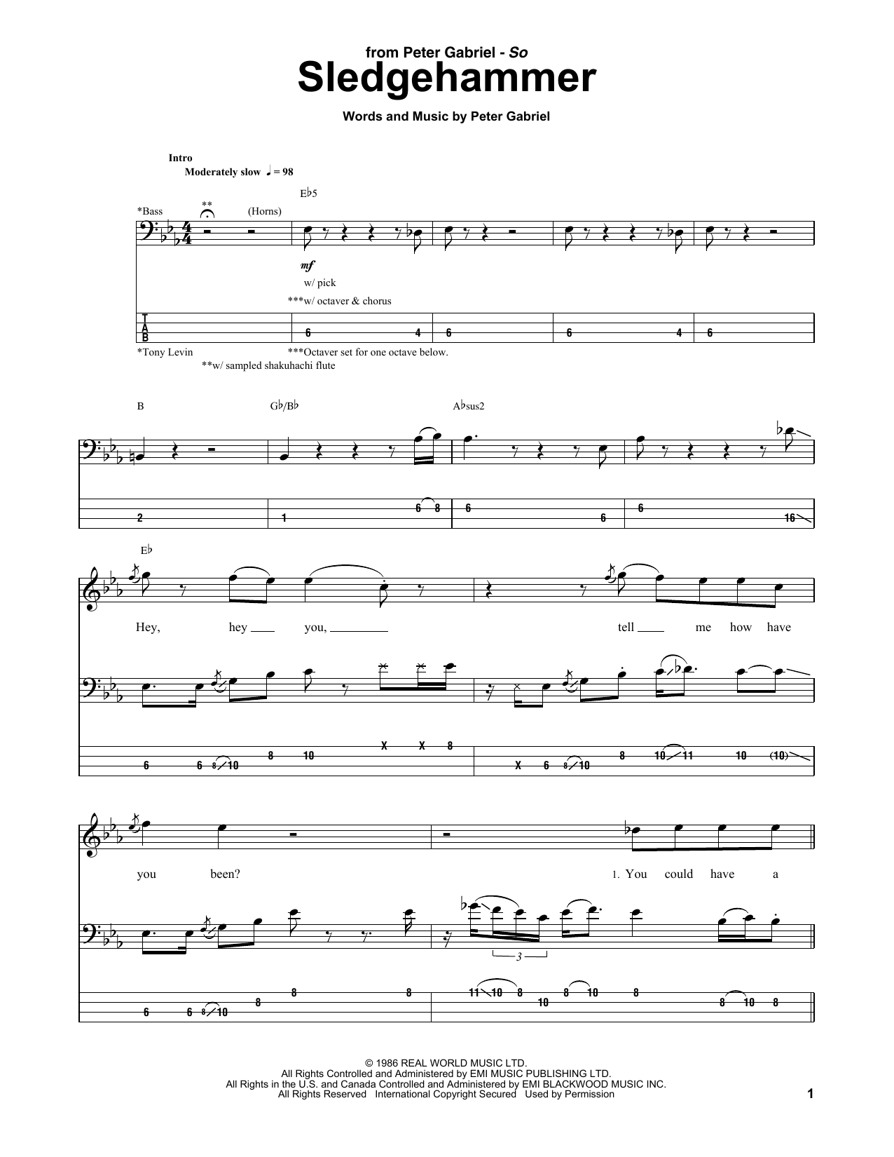 Tablature guitare Sledgehammer de Peter Gabriel - Tablature Basse