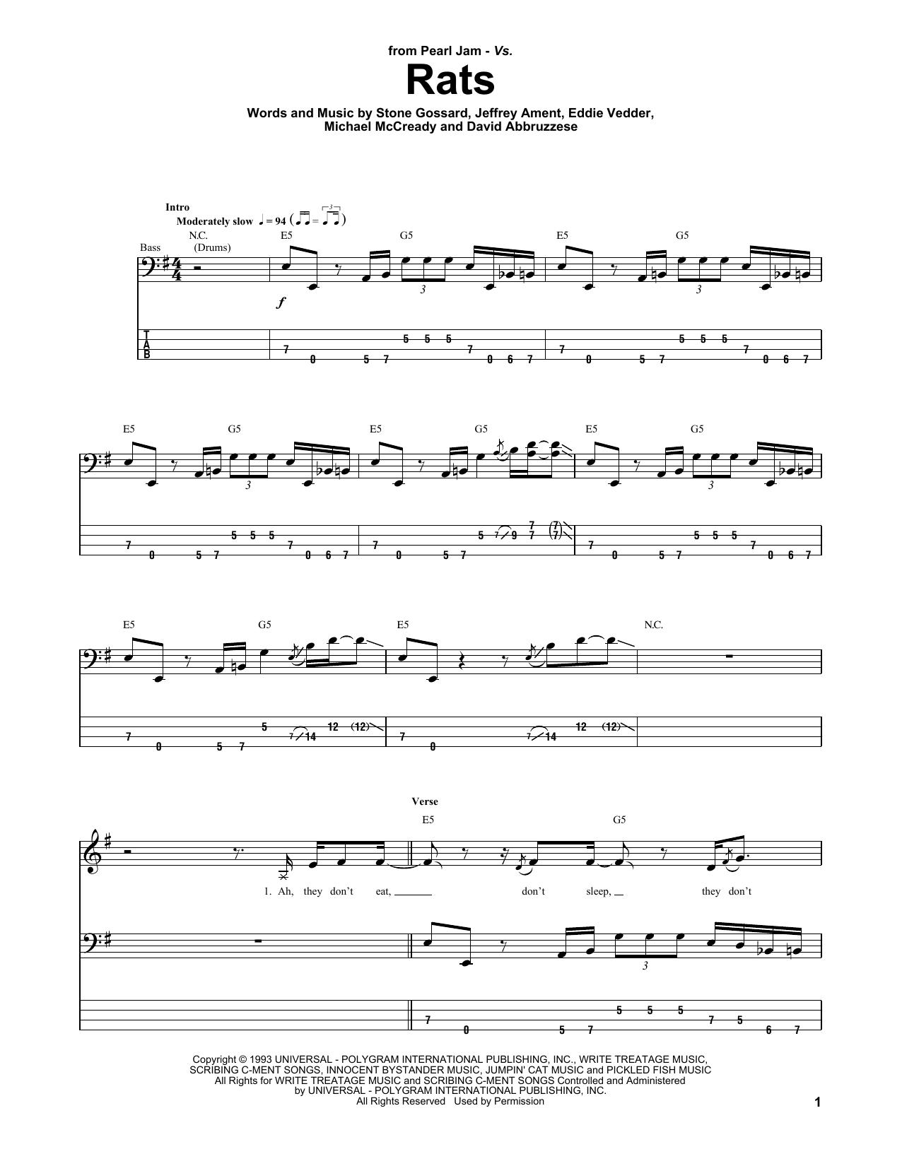Tablature guitare Rats de Pearl Jam - Tablature Basse