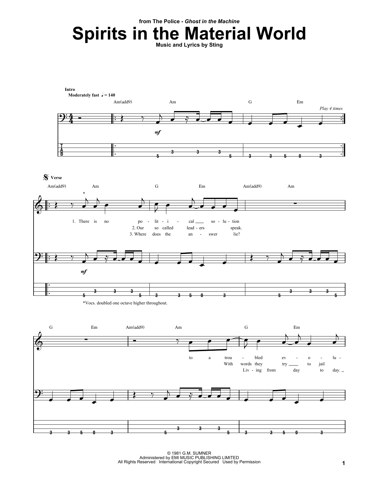 Tablature guitare Spirits In The Material World de The Police - Tablature Basse