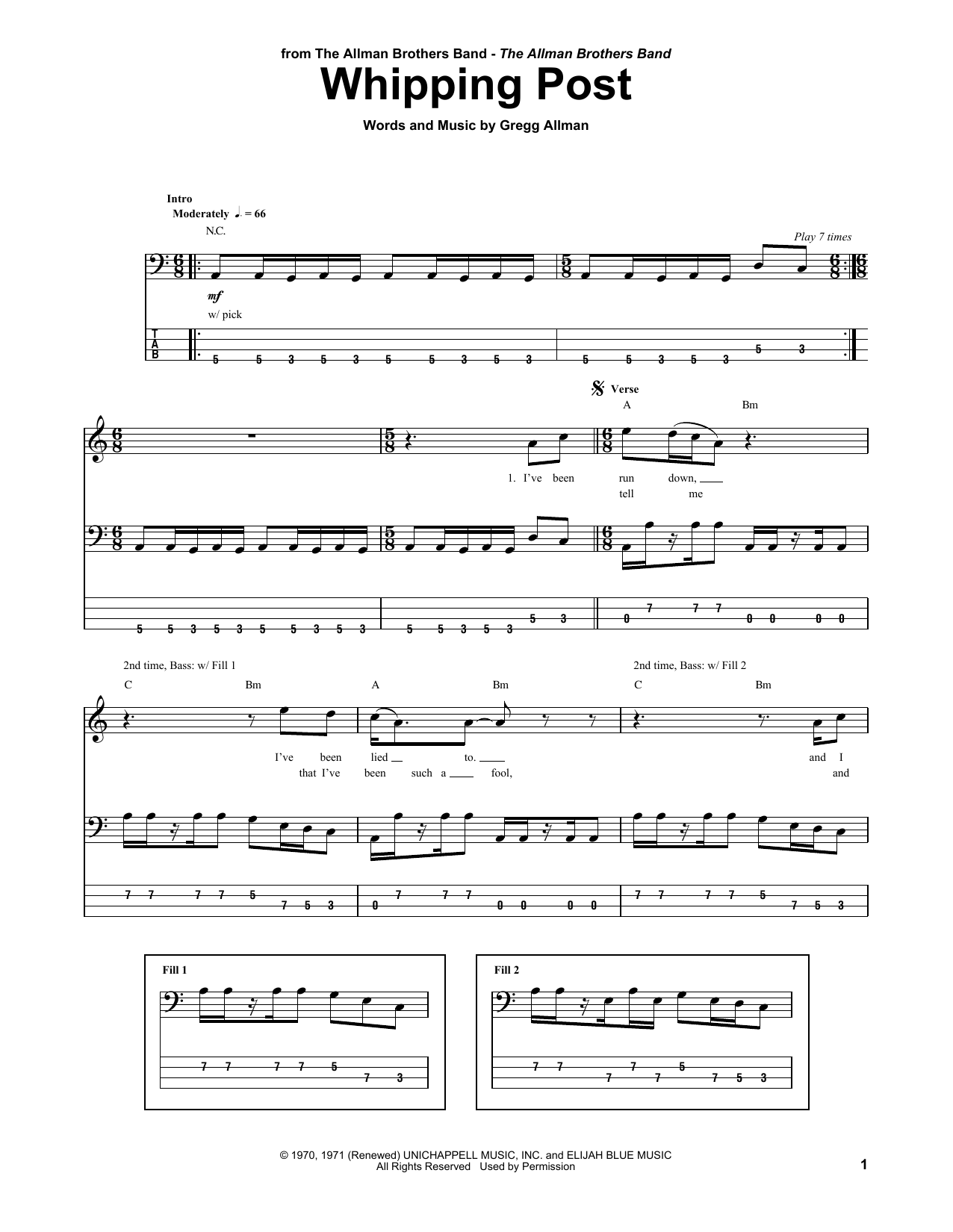 Tablature guitare Whipping Post de The Allman Brothers Band - Tablature Basse