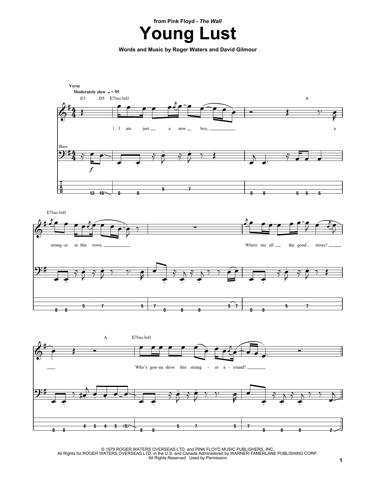 Tablature guitare Young Lust de Pink Floyd - Tablature Basse