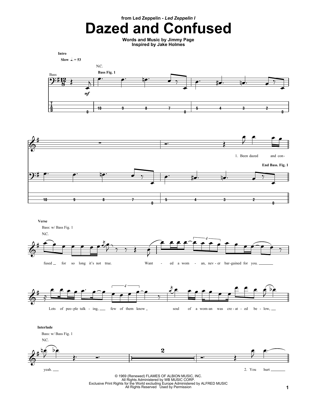 Tablature guitare Dazed And Confused de Led Zeppelin - Tablature Basse