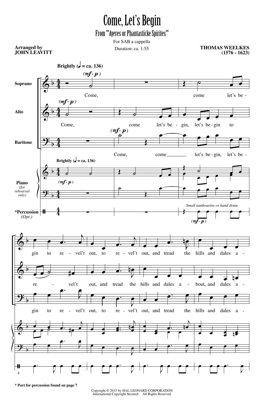 Partition chorale Come, Let's Begin (arr. John Leavitt) de Thomas Weelkes - SAB