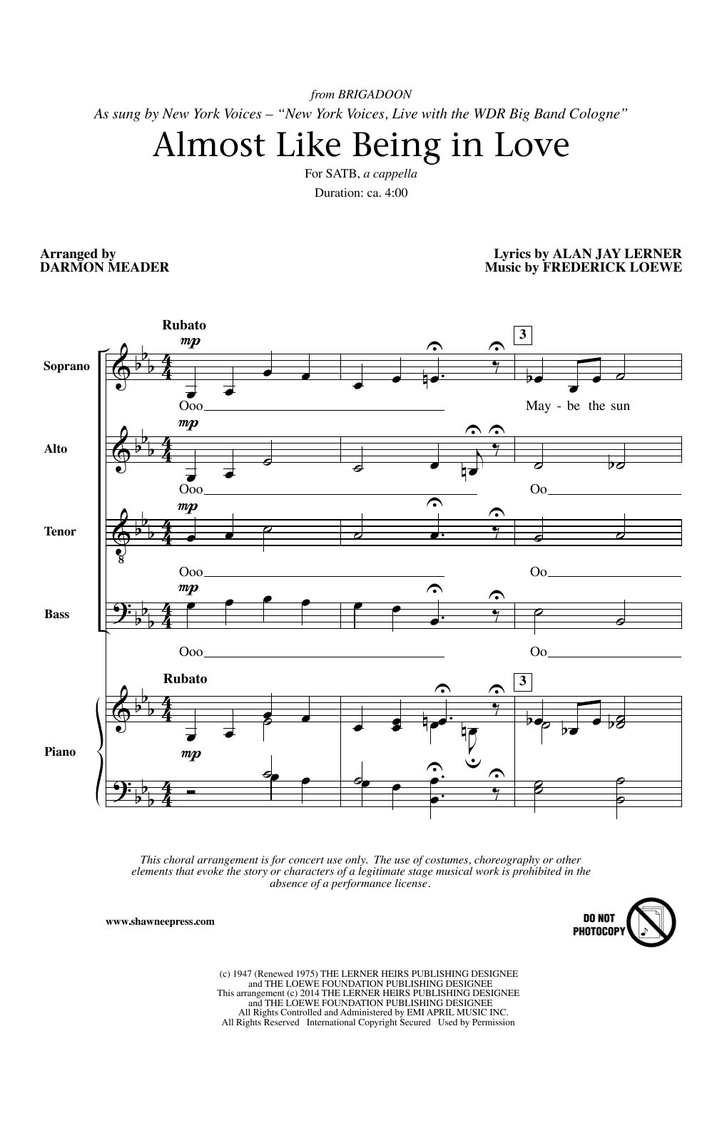 Partition chorale Almost Like Being In Love (arr. Darmon Meader) de Lerner & Loewe - SATB