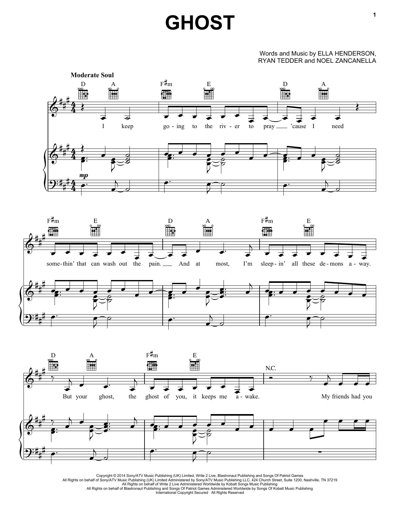 Partition piano Ghost de Ella Henderson - Piano Voix Guitare (Mélodie Main Droite)