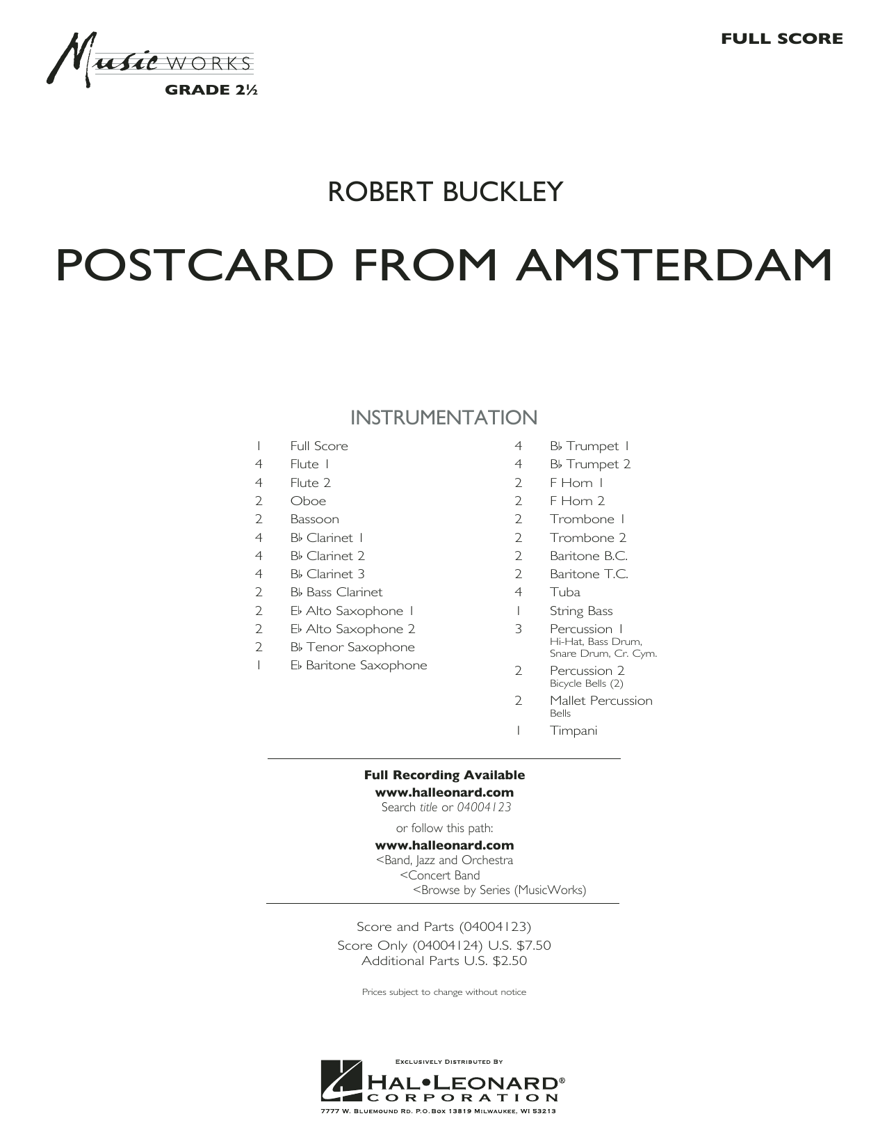 Postcard from Amsterdam (COMPLETE) sheet music for concert band by Robert Buckley