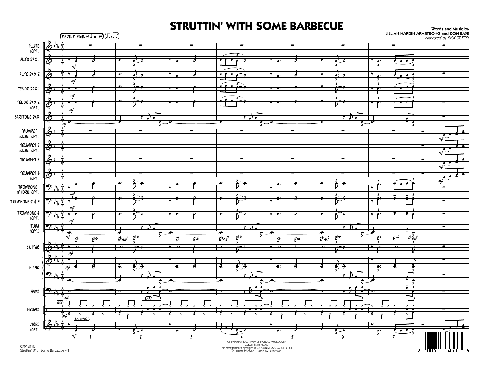 Struttin' with Some Barbecue (COMPLETE) sheet music for jazz band by Rick Stitzel