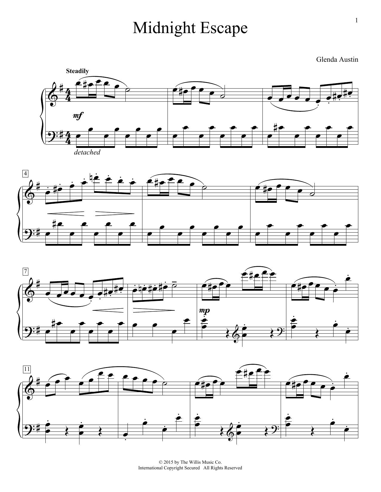 Partition piano Midnight Escape de Glenda Austin - Piano Facile