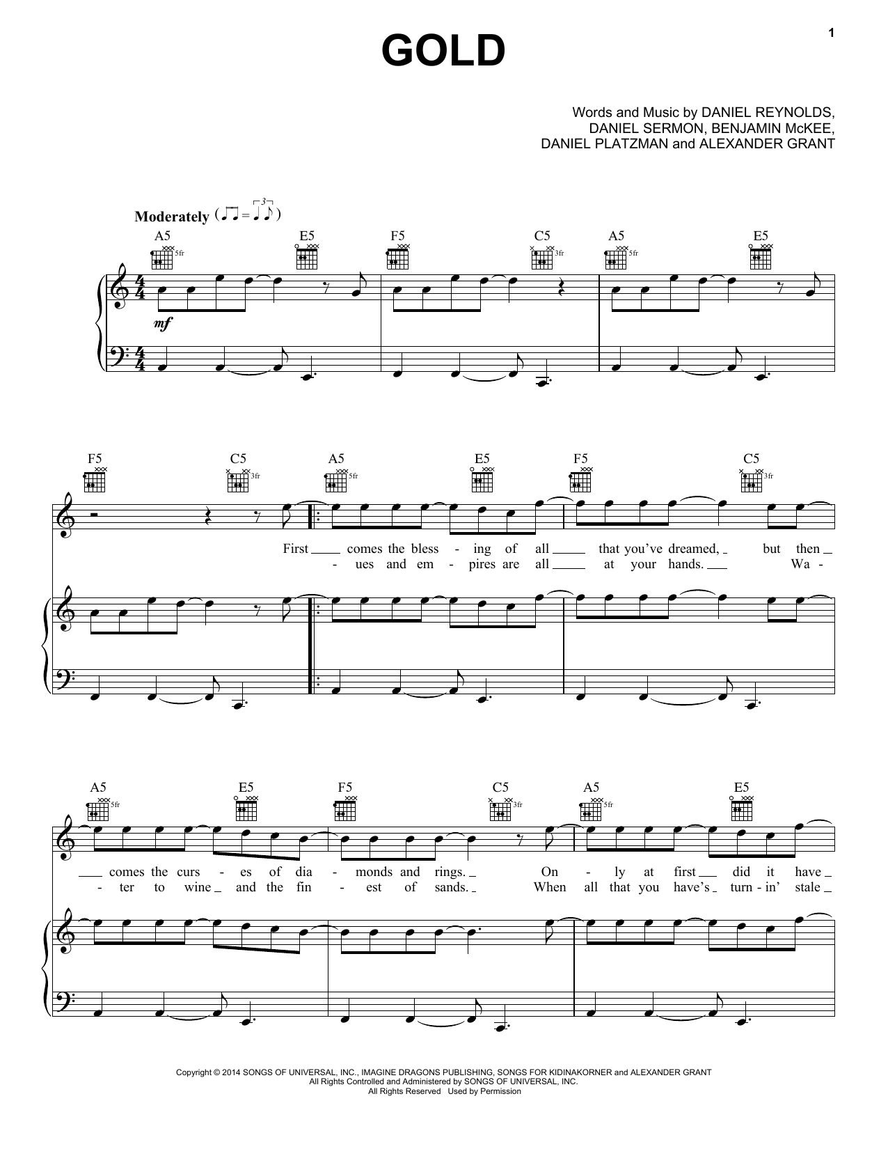 Partition piano Gold de Imagine Dragons - Piano Voix Guitare (Mélodie Main Droite)