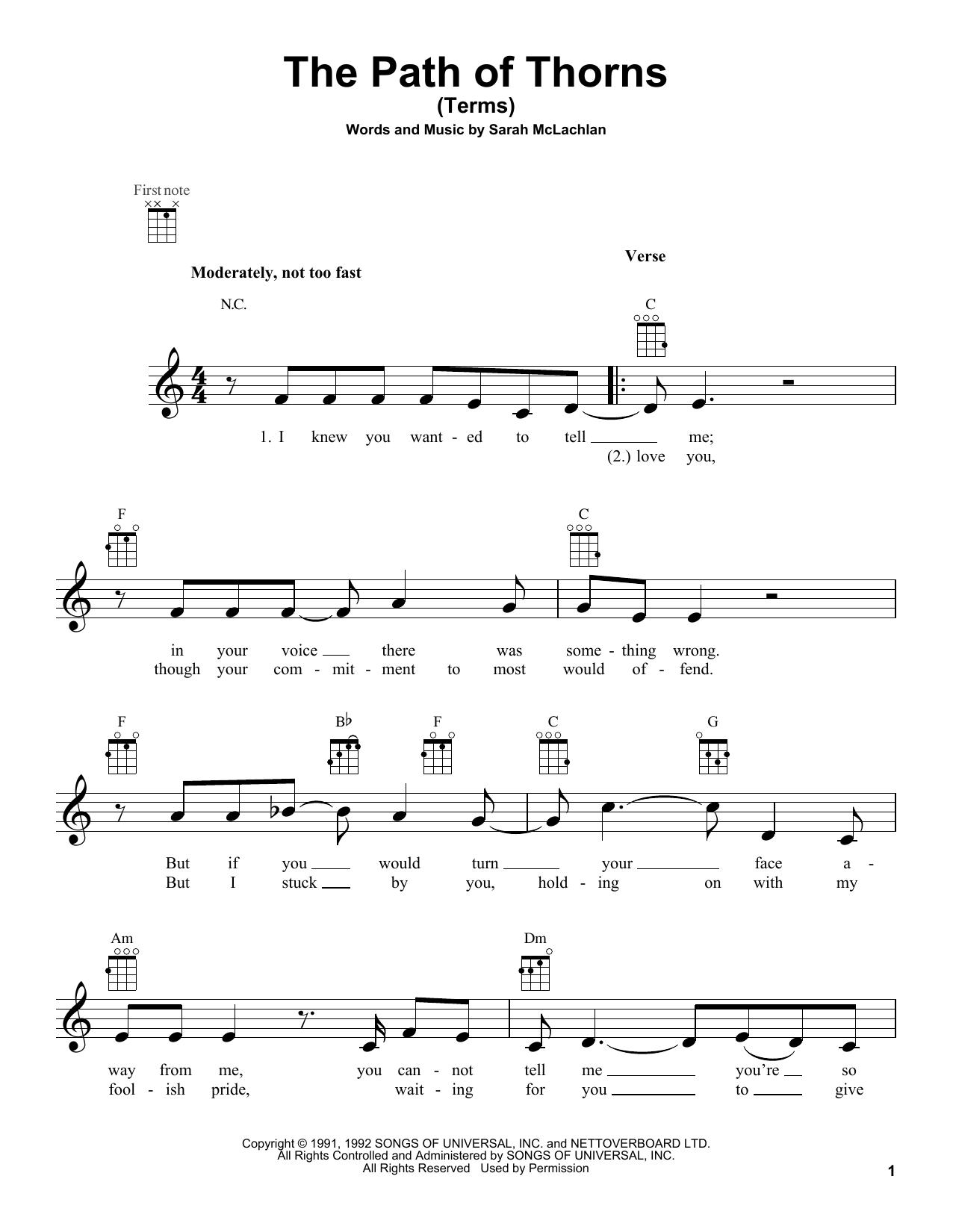 Tablature guitare The Path Of Thorns (Terms) de Sarah McLachlan - Ukulele