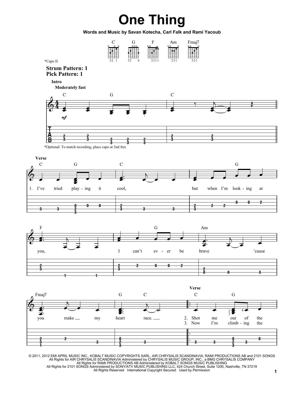 Tablature guitare One Thing de One Direction - Tablature guitare facile