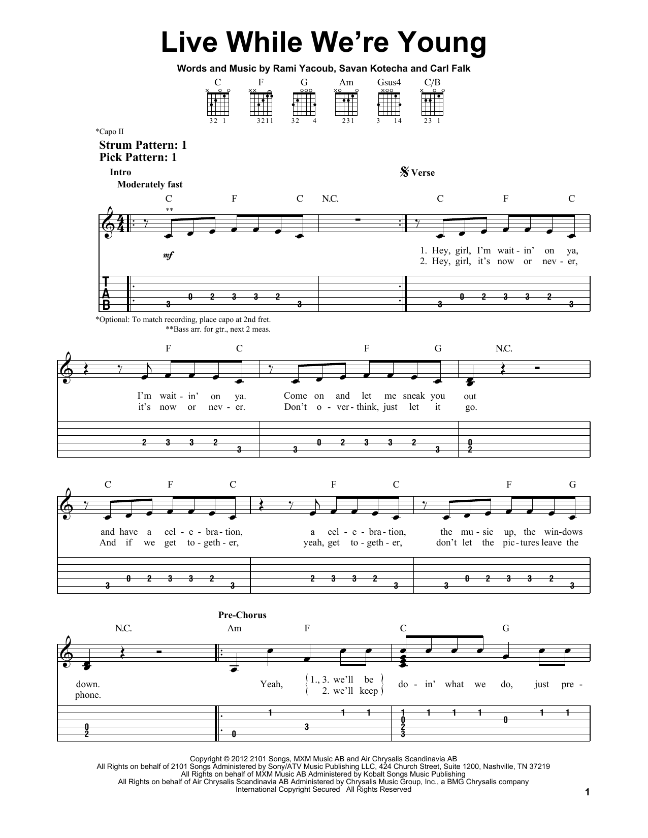Tablature guitare Live While We're Young de One Direction - Tablature guitare facile