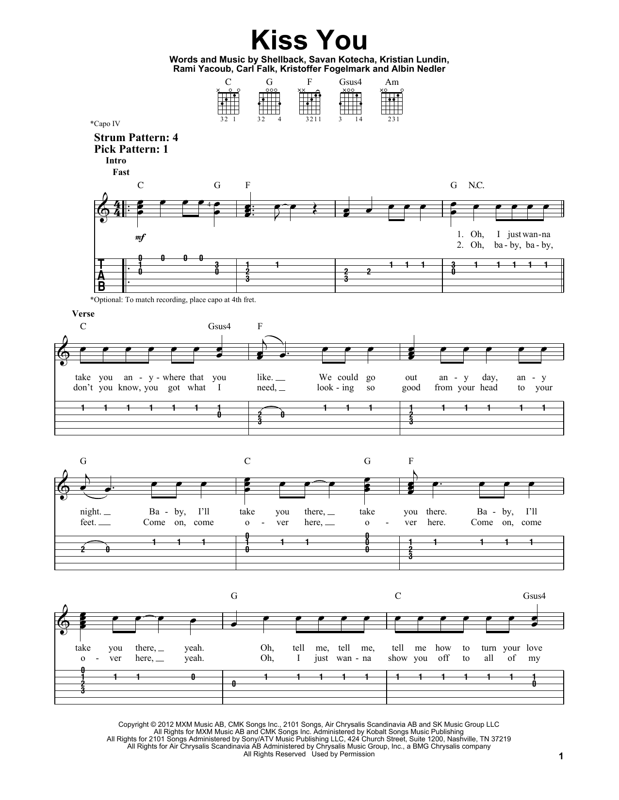 Tablature guitare Kiss You de One Direction - Tablature guitare facile