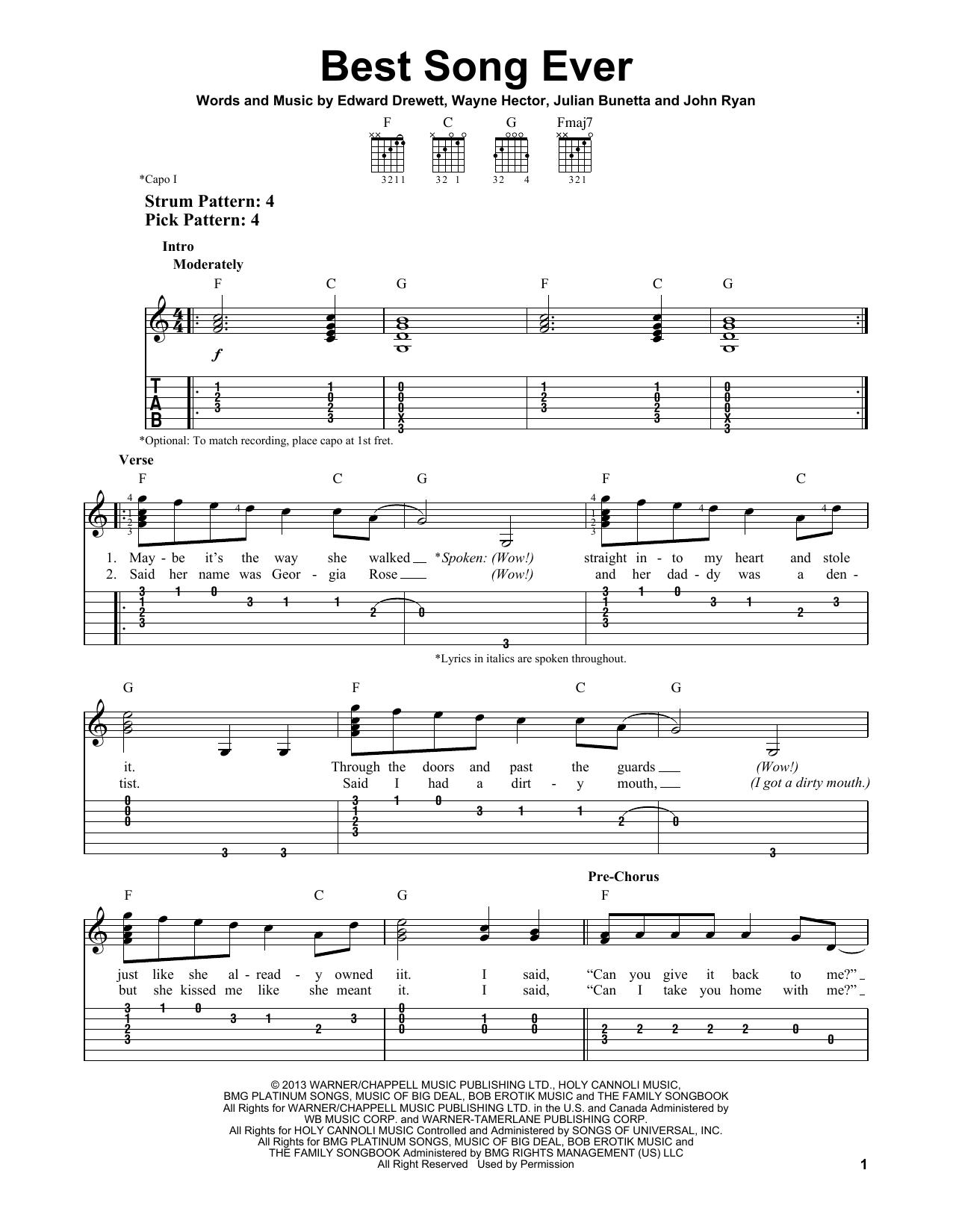 Tablature guitare Best Song Ever de One Direction - Tablature guitare facile