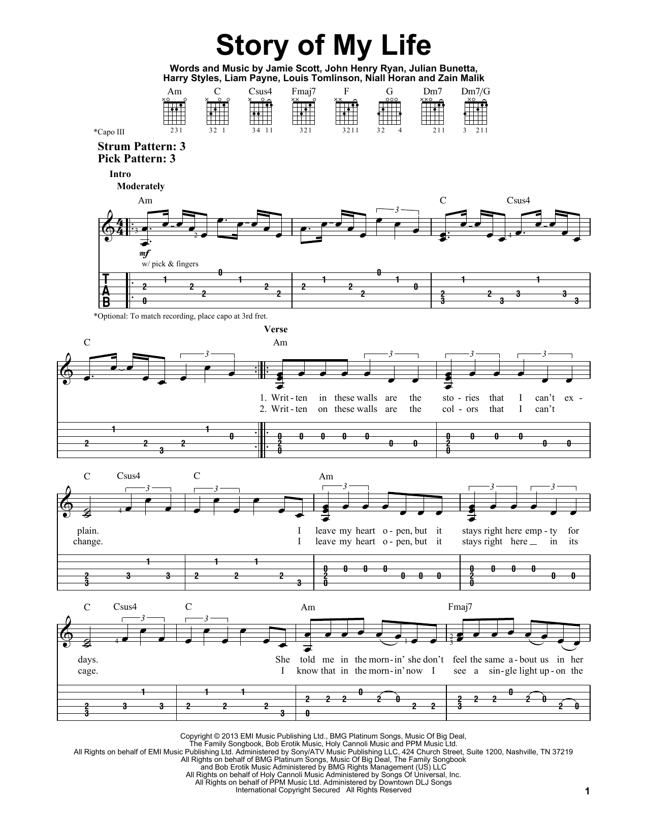 Tablature guitare Story Of My Life de One Direction - Tablature guitare facile