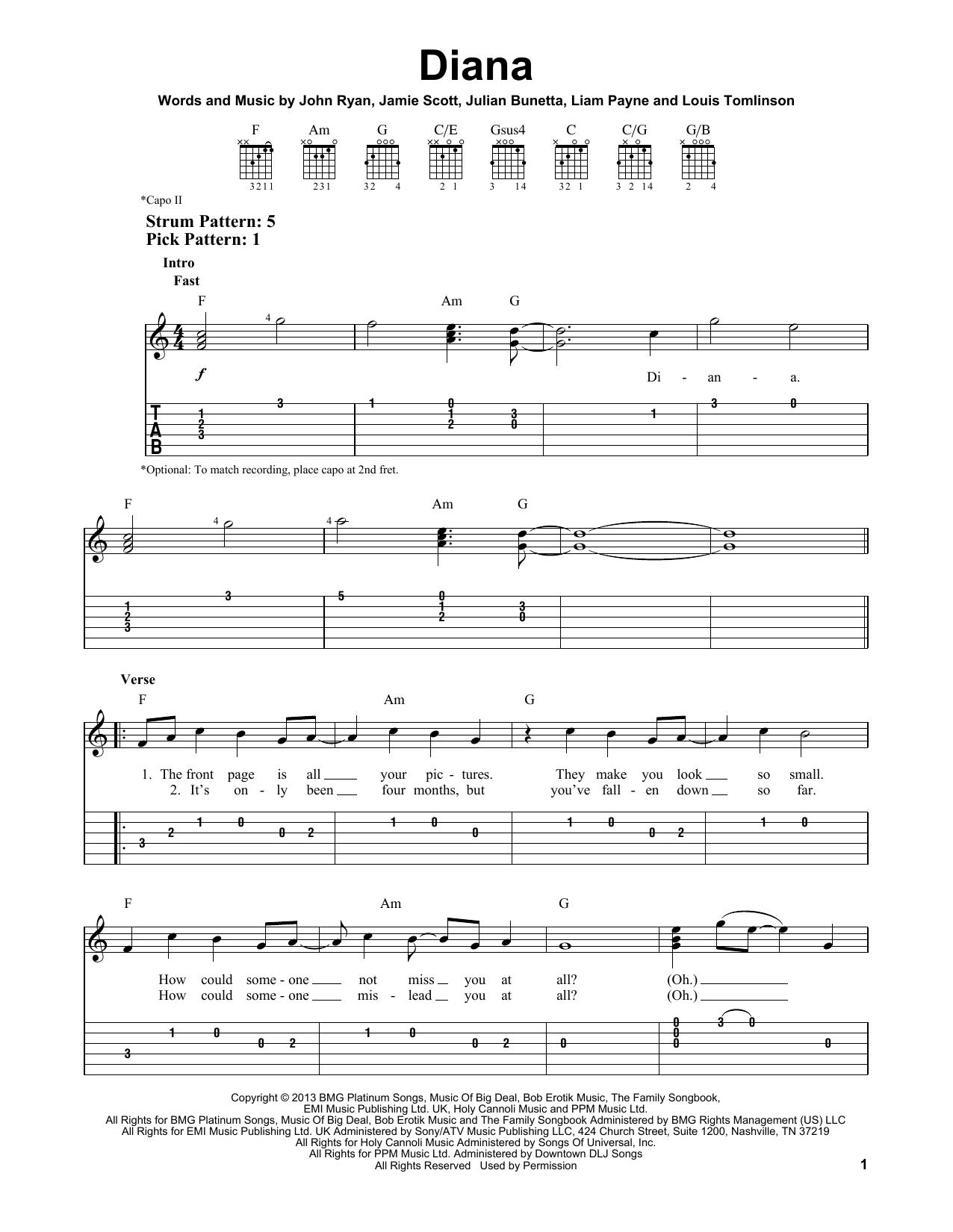 Tablature guitare Diana de One Direction - Tablature guitare facile