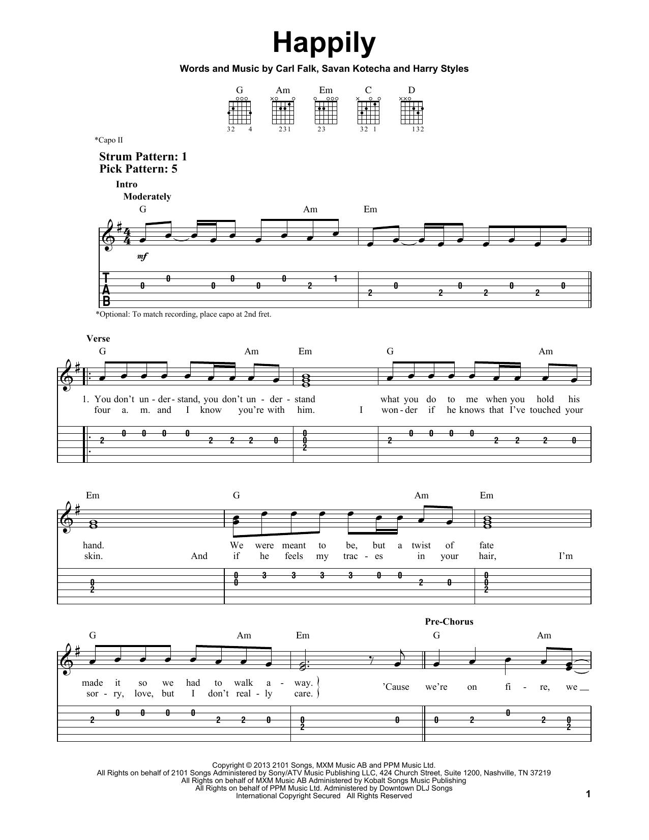 Tablature guitare Happily de One Direction - Tablature guitare facile