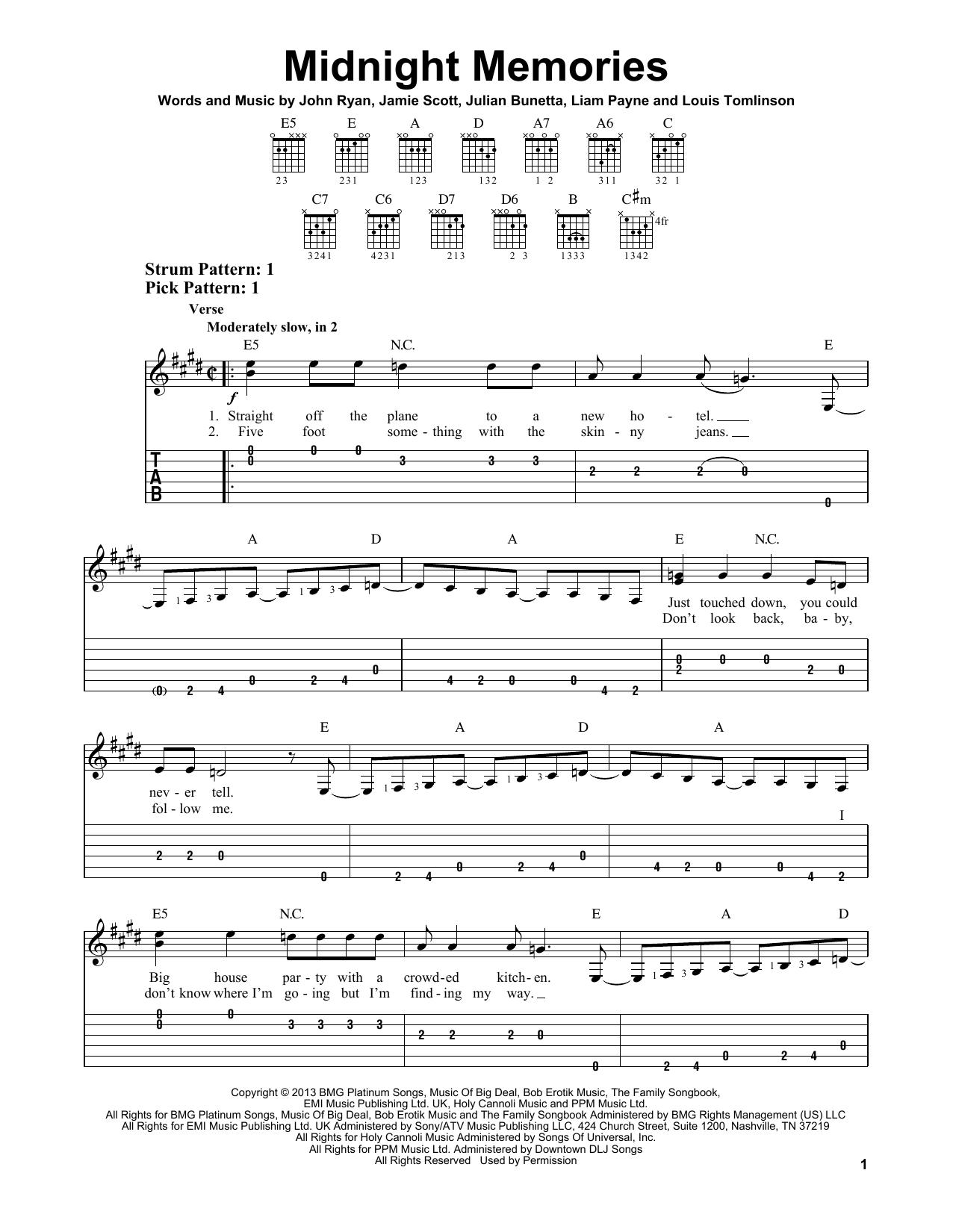 Tablature guitare Midnight Memories de One Direction - Tablature guitare facile